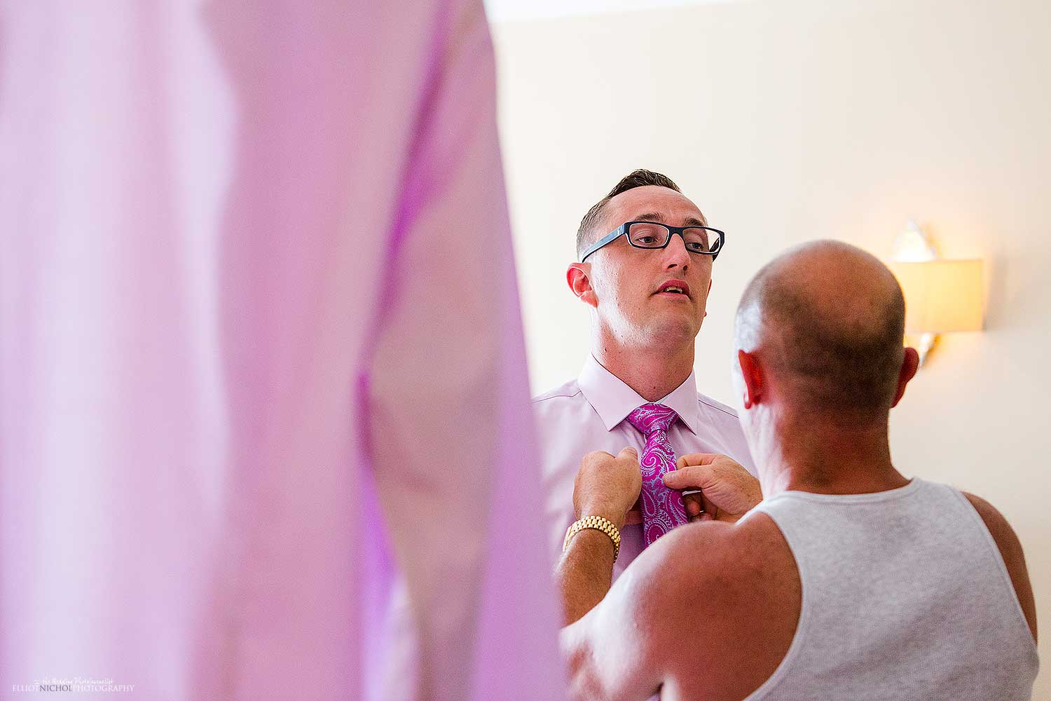 son-father-getting-ready-wedding-day-photography