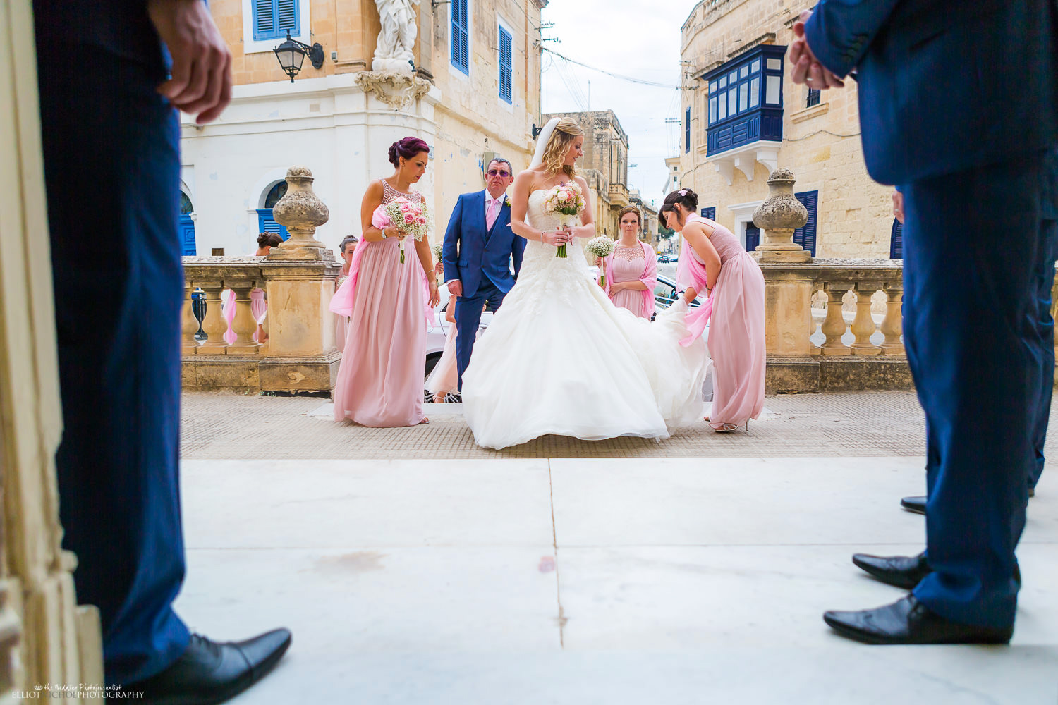 Bride arrives at Attard parish church with her bridal party
