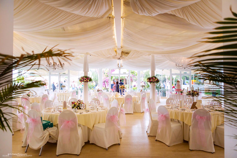 Wedding reception setup at Villa Arrigo, Naxxar, Malta