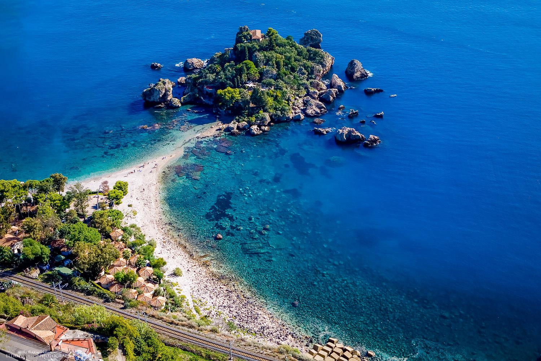 View of Isola Bella, Taormina, Sicily