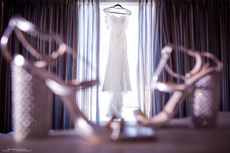 Brides wedding dress and wedding shoes