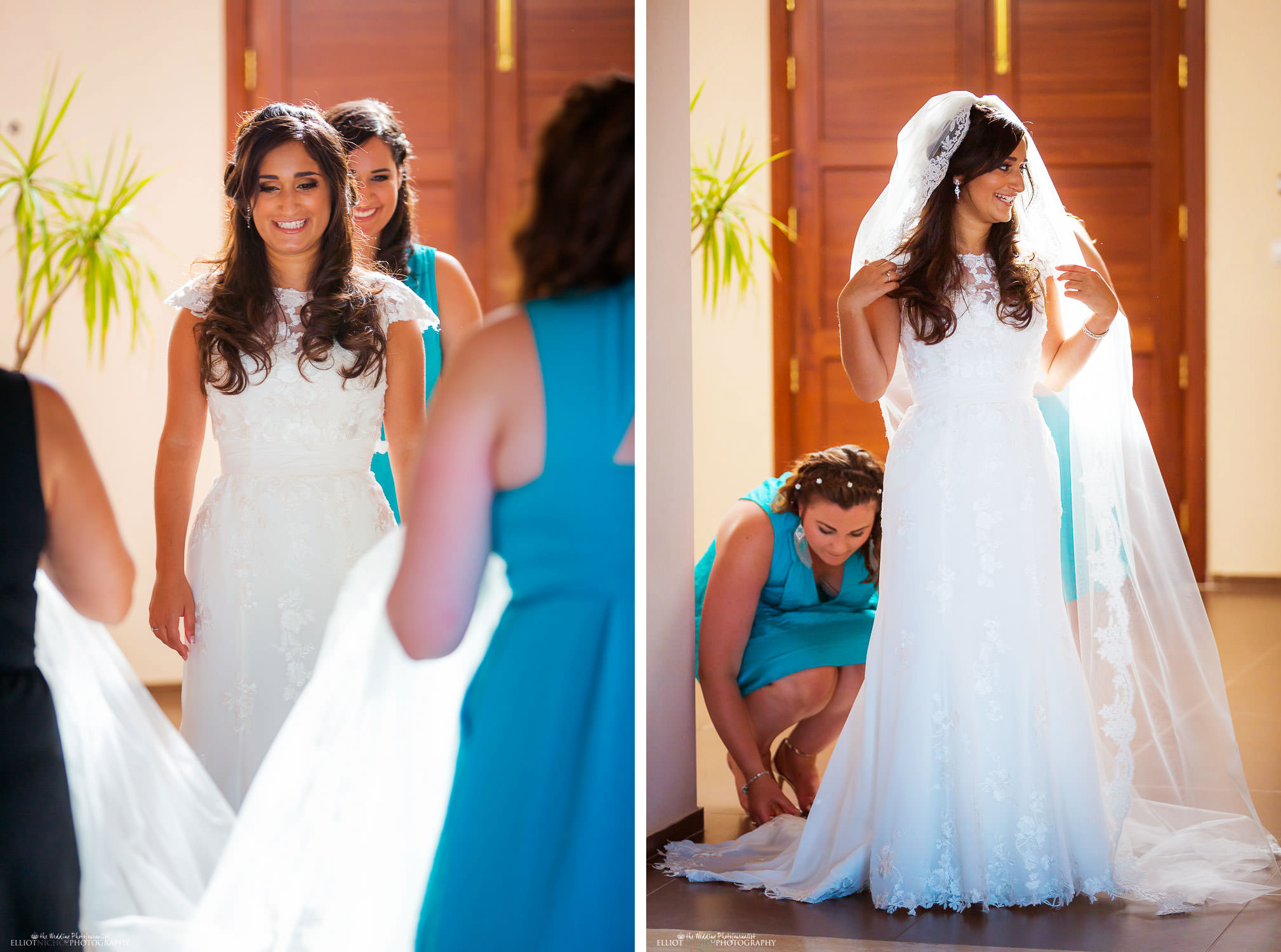 bride in her wedding dress put on her veil.