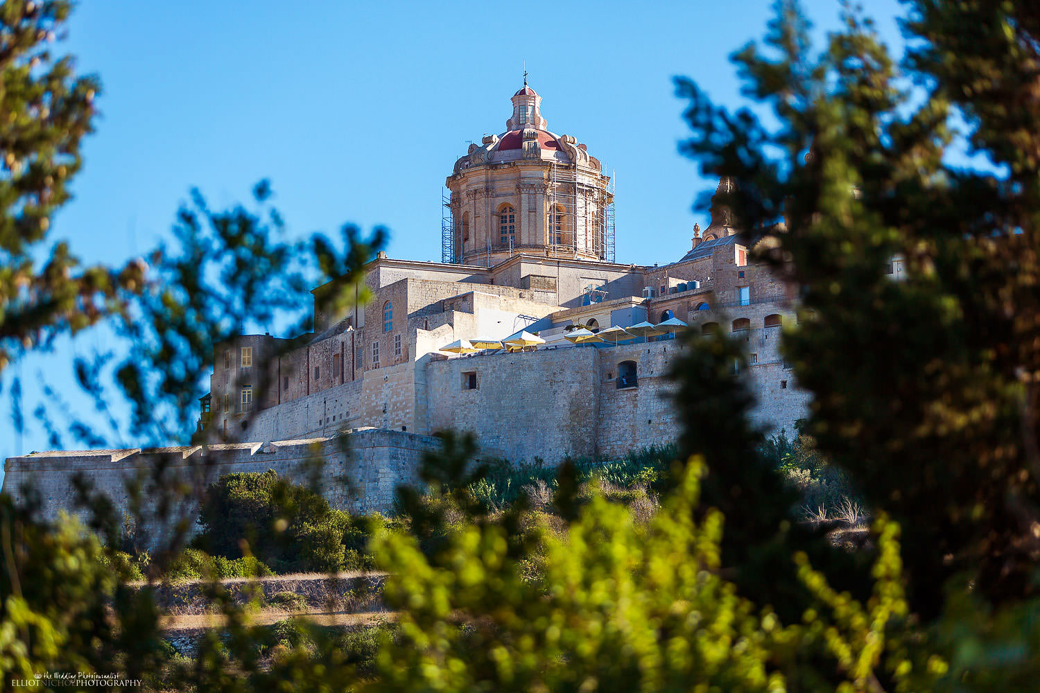 View of Mdina from the Olive Gardens in Malta.