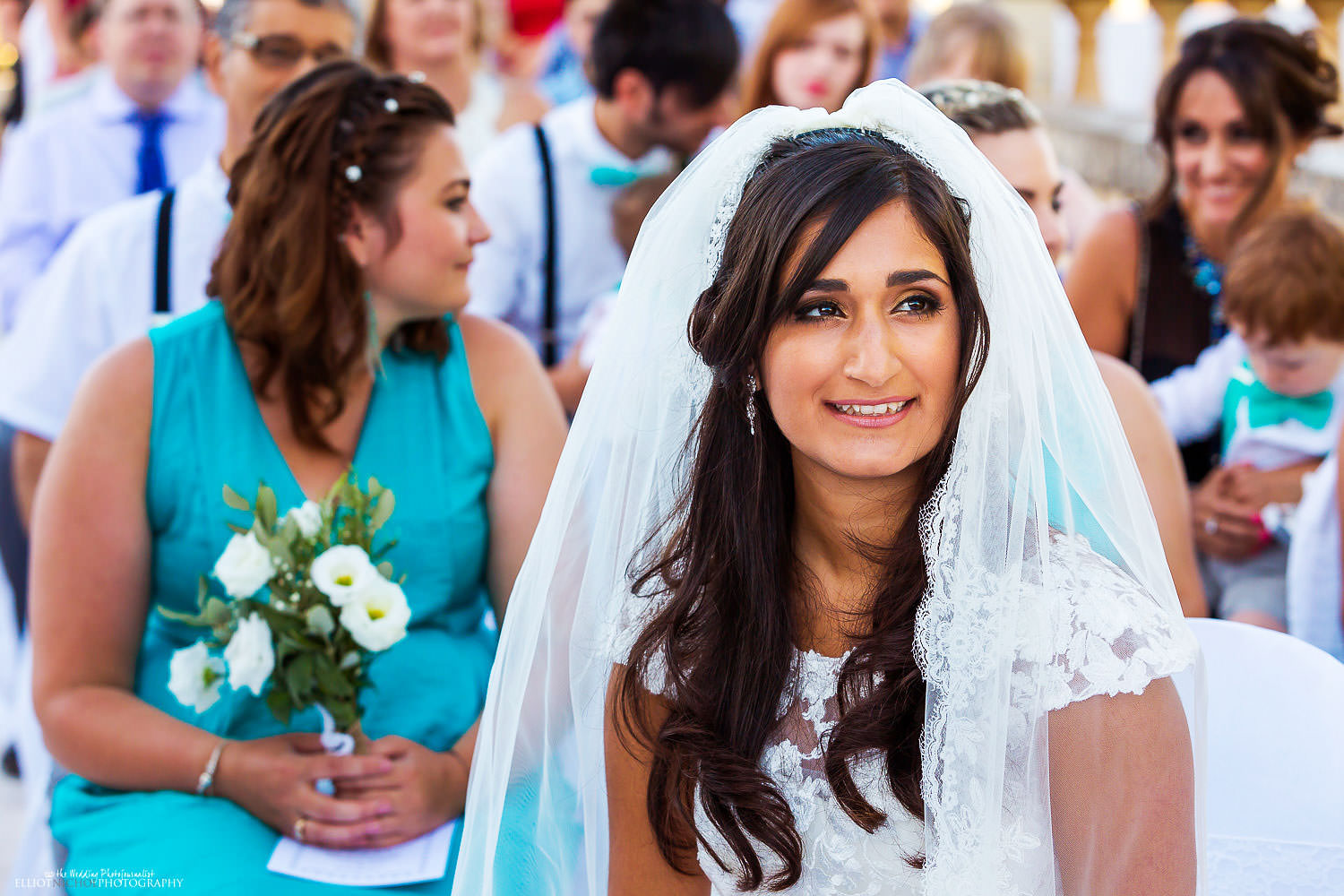 bride during the wedding ceremony at the Olive Gardens, Malta.