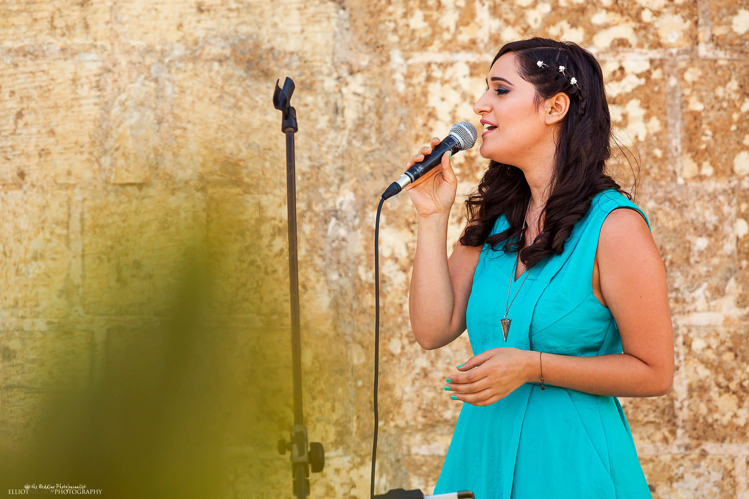 wedding guest sings during the wedding ceremony