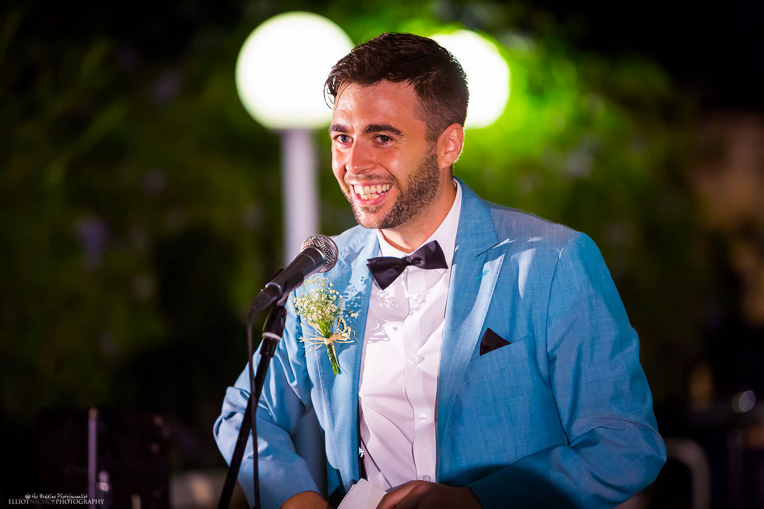 Grooms speech during the wedding reception at the Olive Gardens, Mdina, Malta.