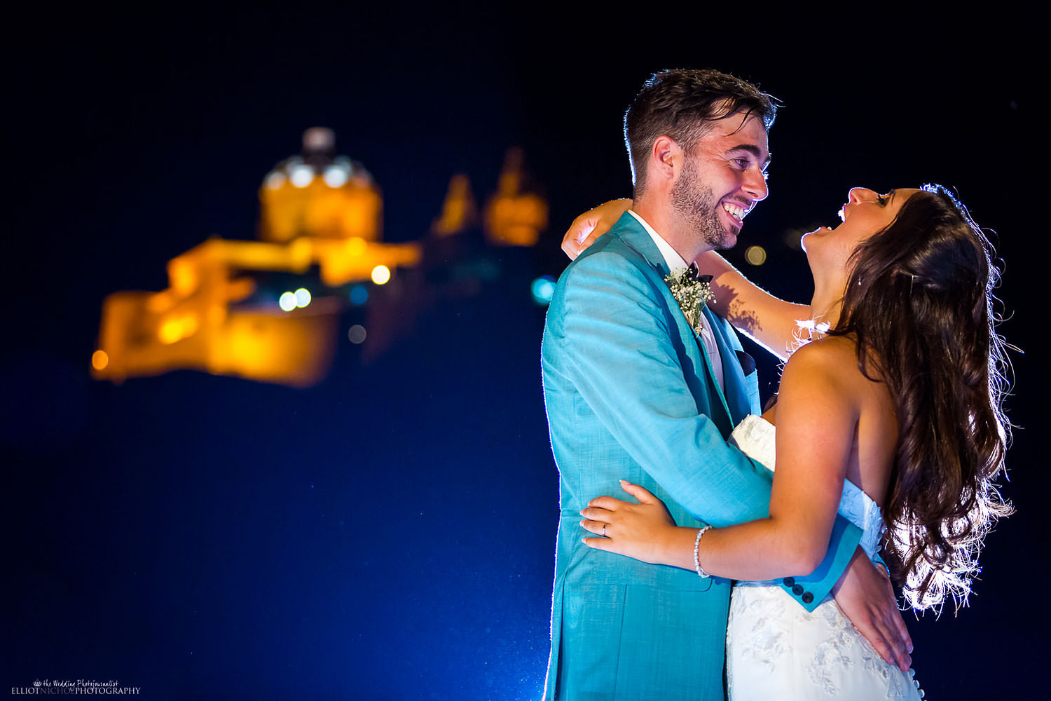 Bride and groom with Mdina in the background, Malta wedding photographer