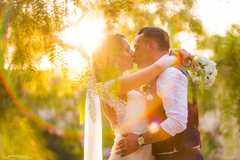 Wedding Photography. Bride and Groom in the gardens of Villa Bologna, Attard, Malta.