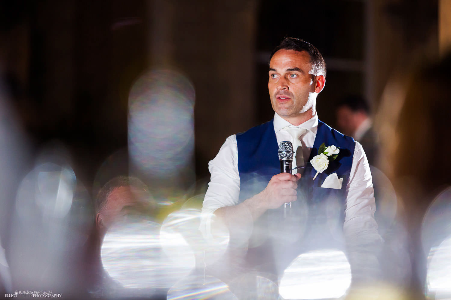 Groom makes his speech during the wedding reception.