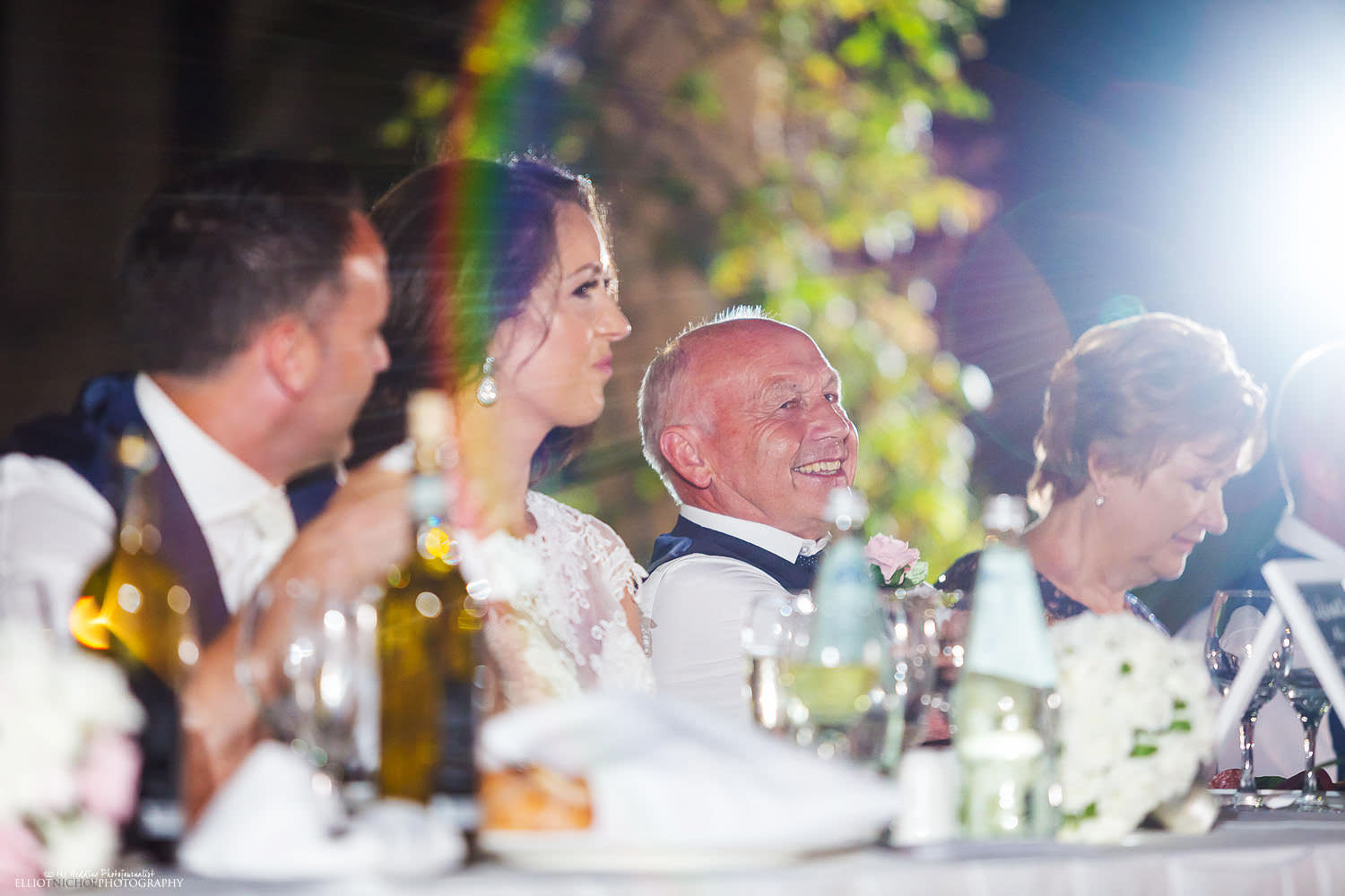 top tables reaction to speeches during the wedding reception