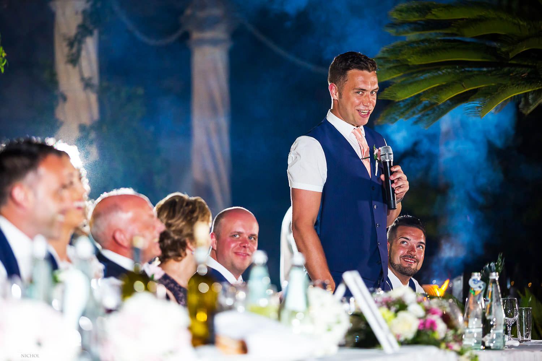 Best man makes his wedding reception speech