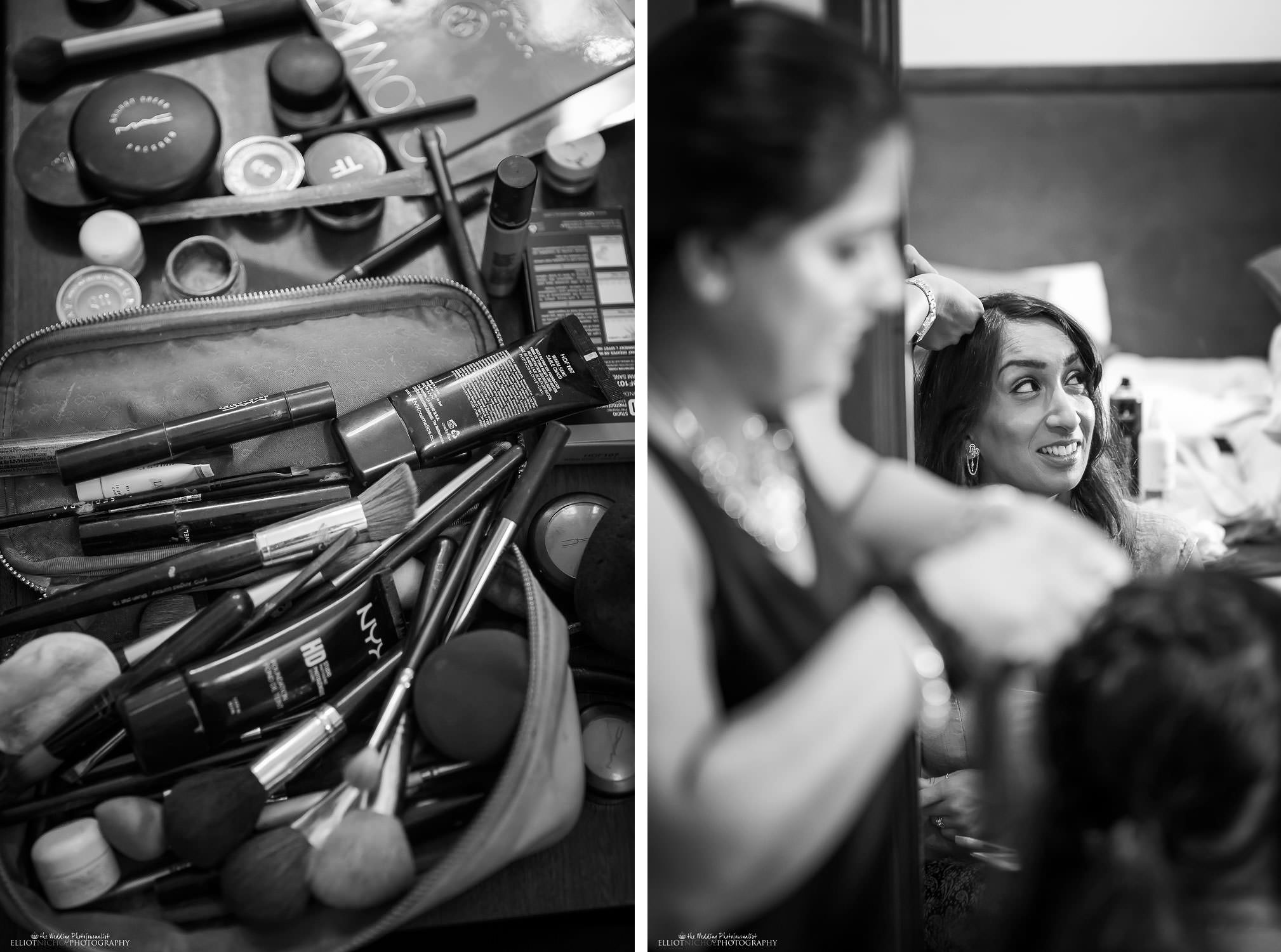 bridal party getting ready. Makeup. Photo by North East based wedding photographer Elliot Nichol.