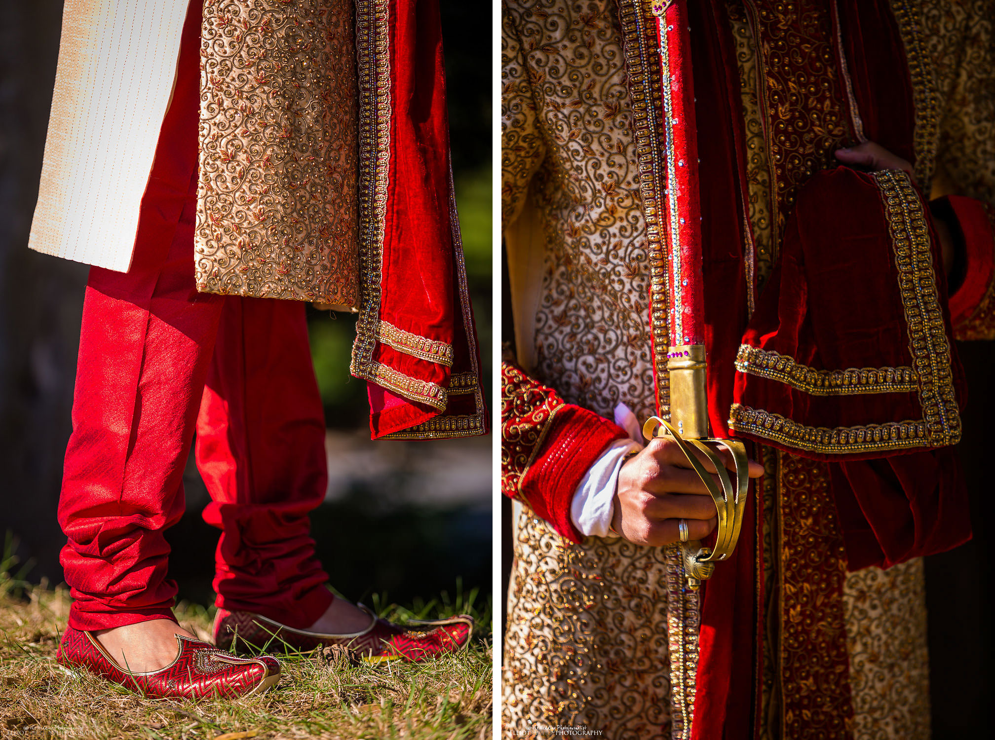 Indian groom dress detail - shoes and sword. Photo by North East based wedding photographer Elliot Nichol.