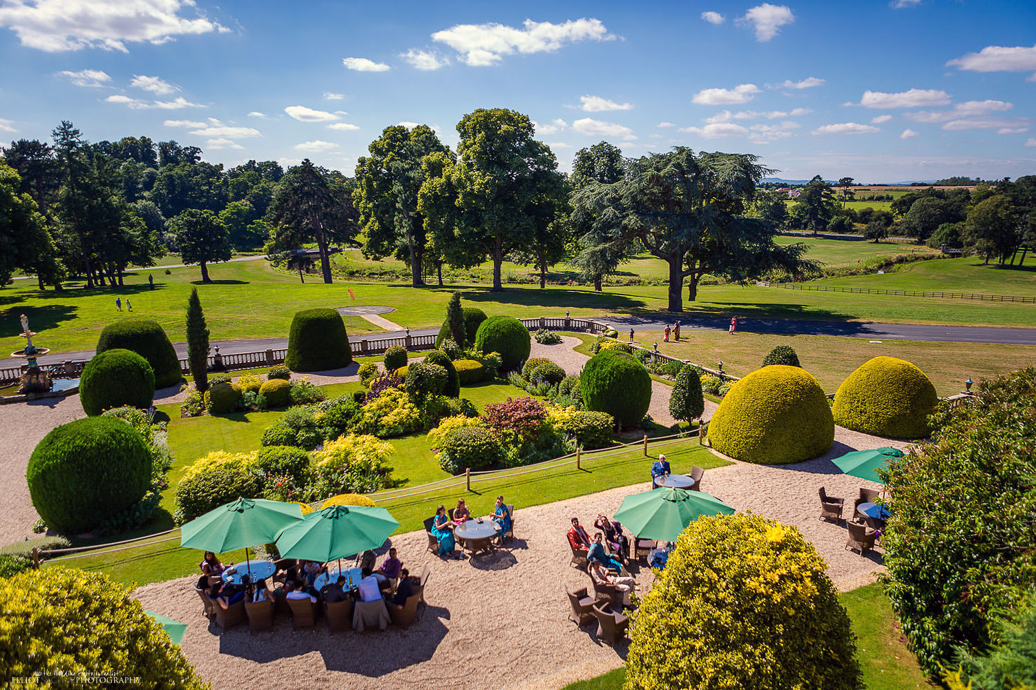 View of the grounds of the wedding venue Chateau Impney. Photo by Newcastle Upon Tyne based wedding photojournalist Elliot Nichol.