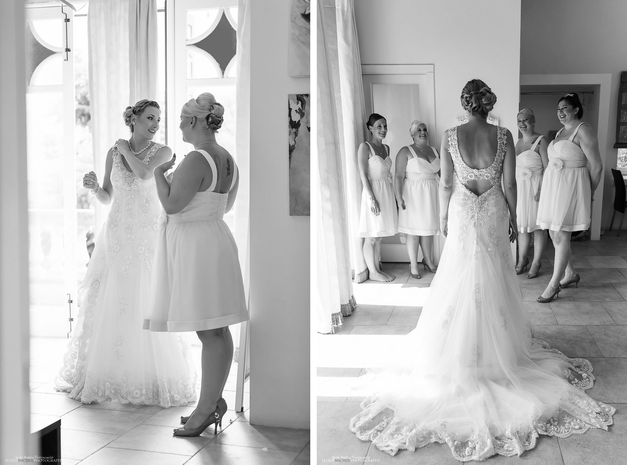 Bride with her bridesmaids before they leave for the wedding ceremony.