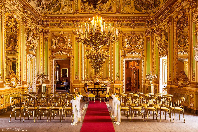 Wedding ceremony setup in the Ballroom of the destination wedding venue the Palazzo Parisio in Naxxar, Malta.