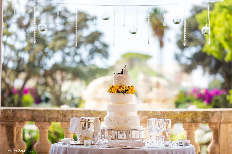 wedding cake on the balcony of the Palazzo Parisio in Naxxar, Malta.