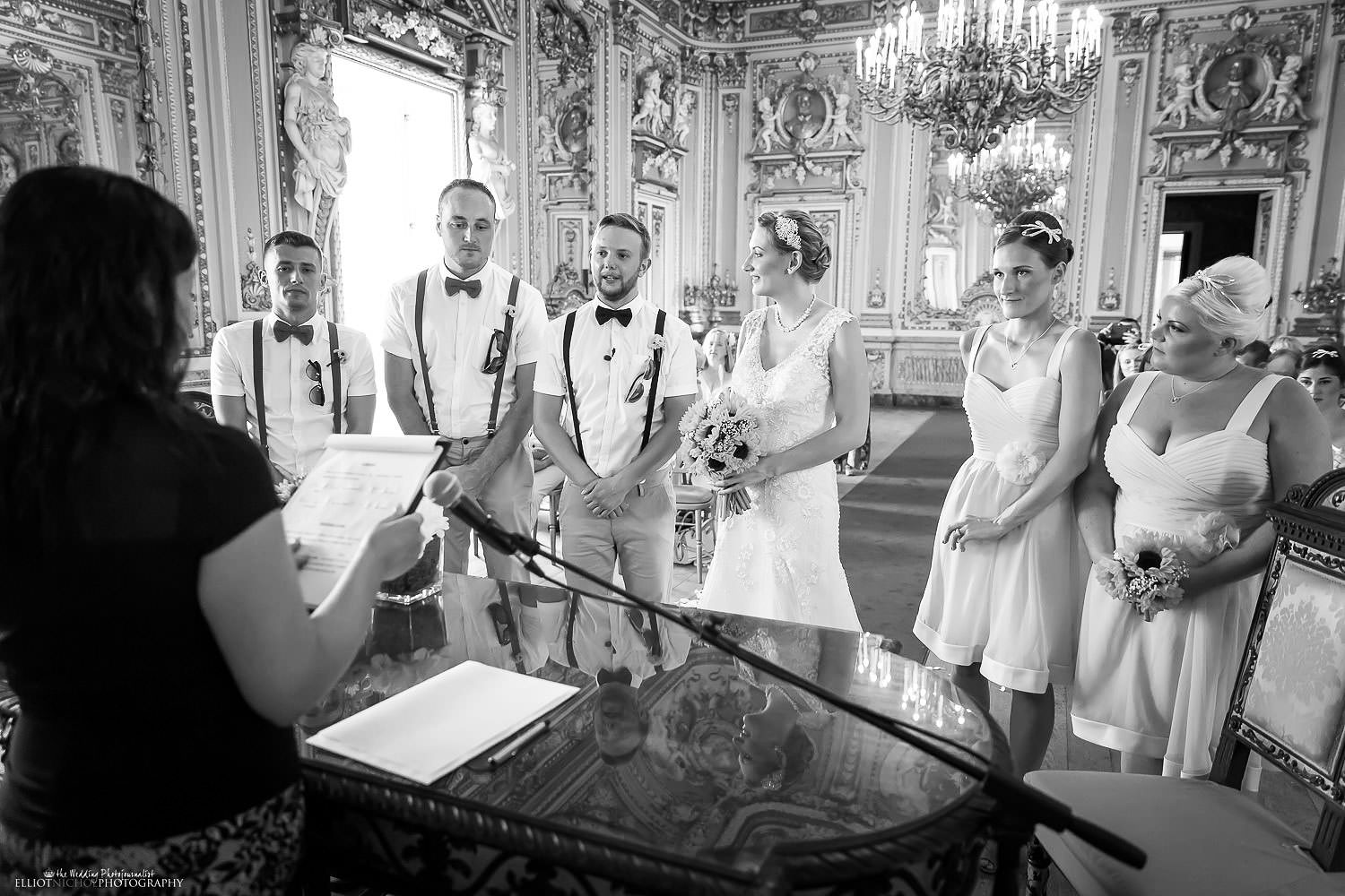 Bride, groom and their witnesses during the wedding ceremony in the Ballroom of the Palazzo Parisio, Malta.
