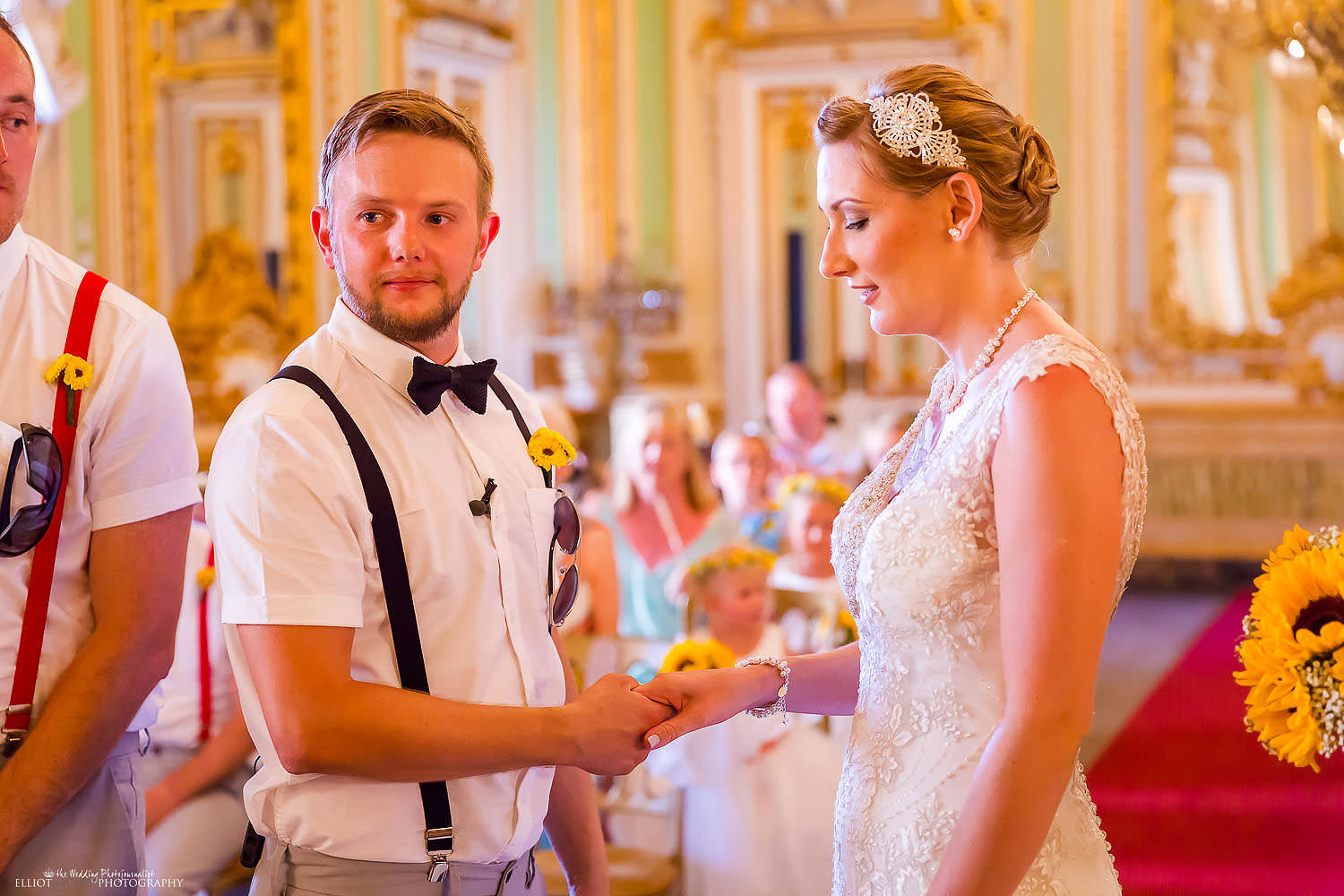 bride and groom say their vows during the civil ceremony at the Palazzo Parisio in Malta.
