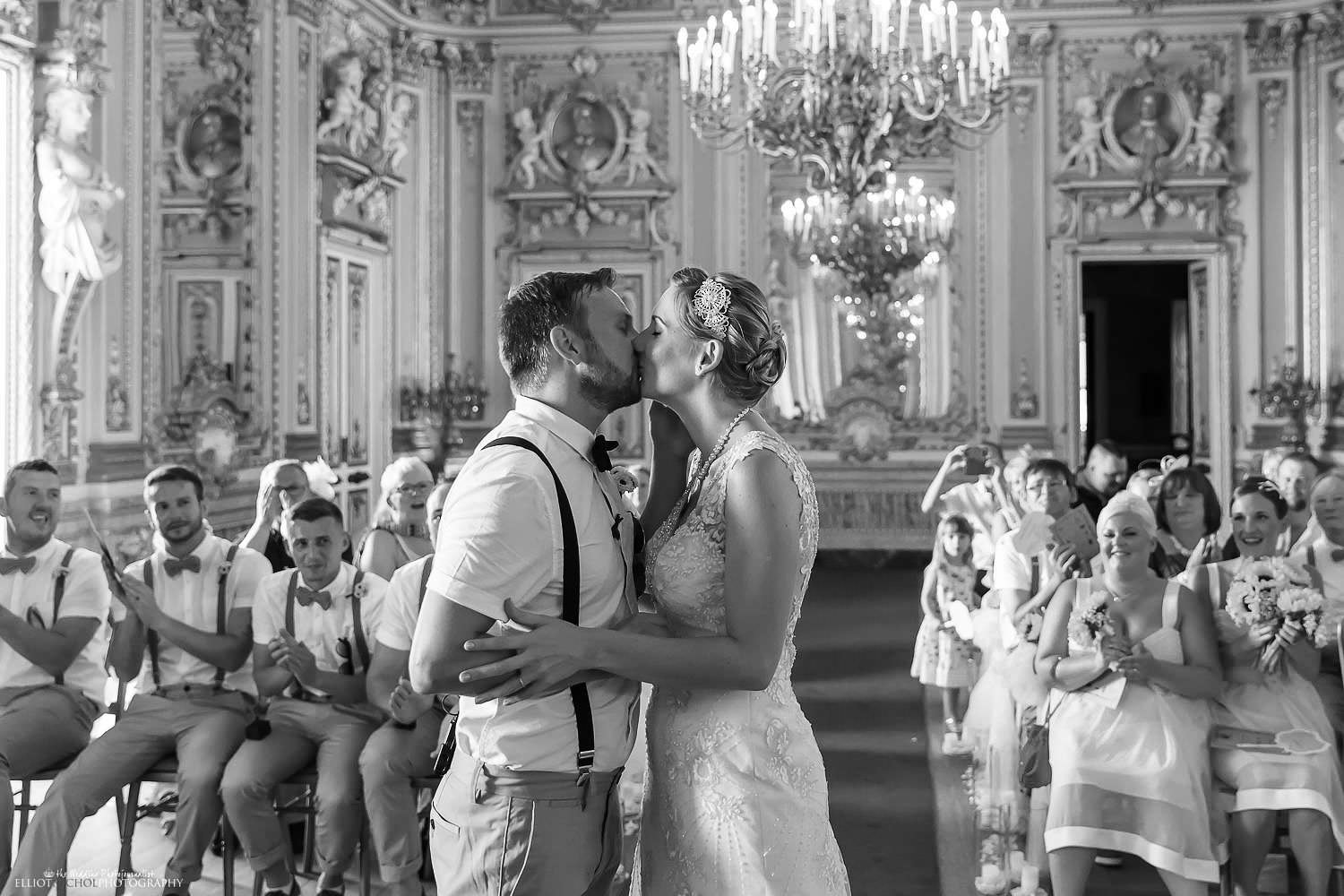 West Yorkshire couple kiss after getting married in Malta.