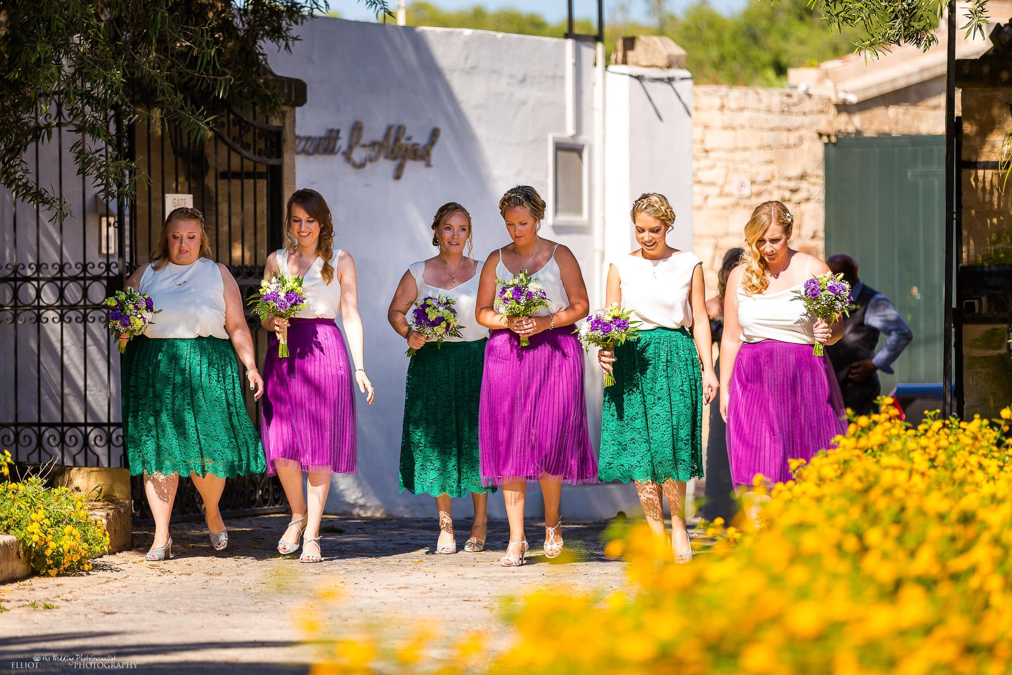 bridesmaids-procession-wedding-day-photography-destination-wedding-malta