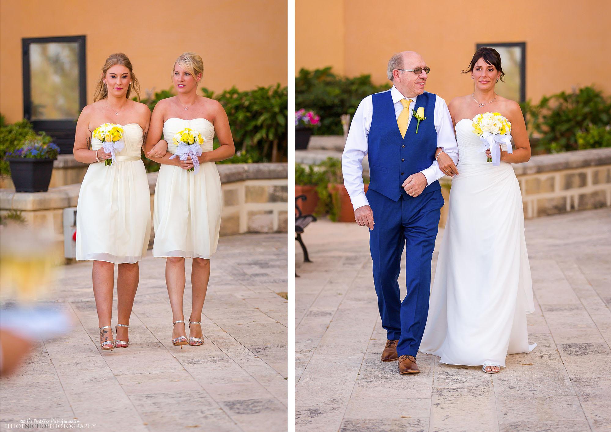 bride-bridesmaids-father-procession-wedding-ceremony