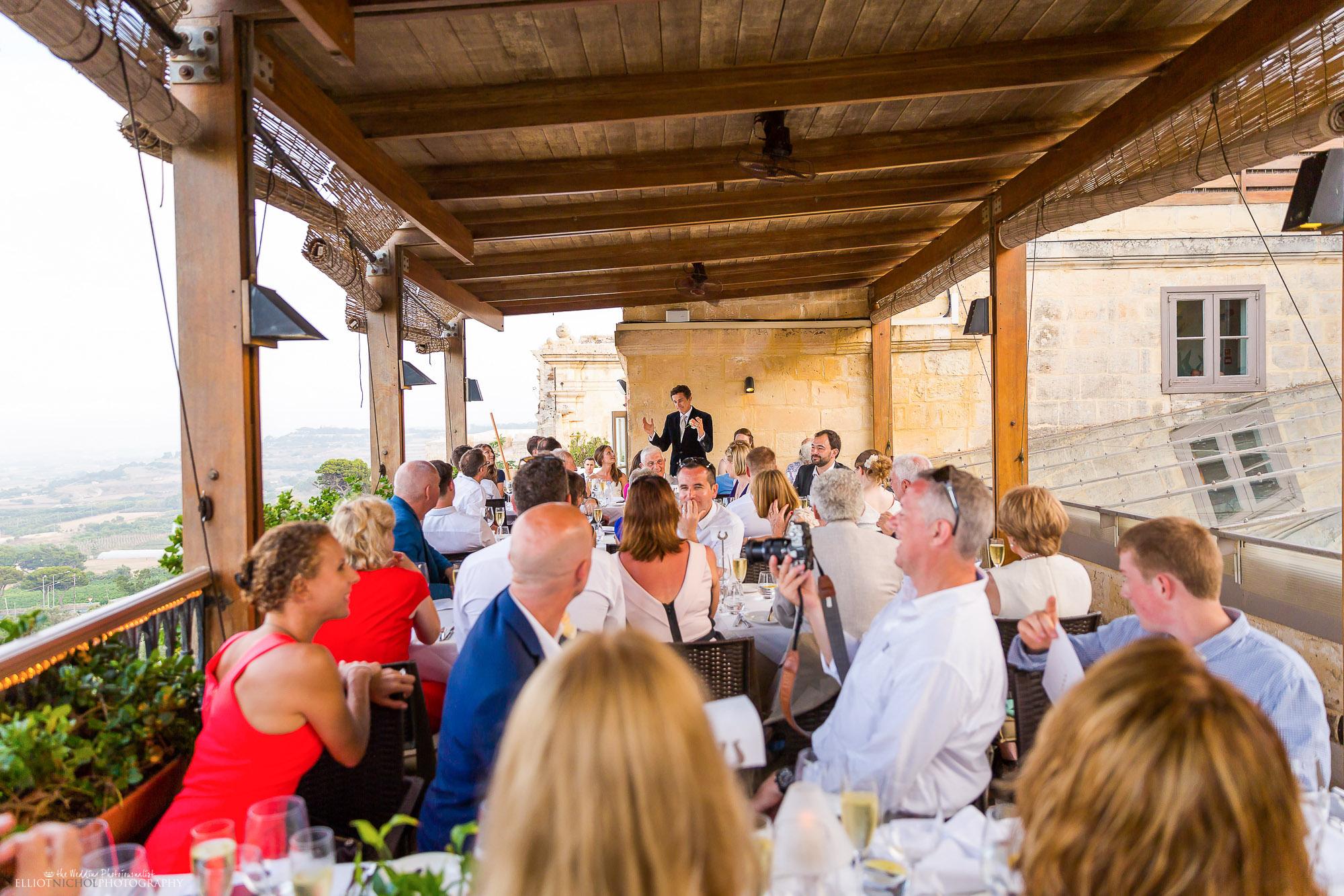 wedding-dinner-speeches-groom-destination-rooftop-wedding