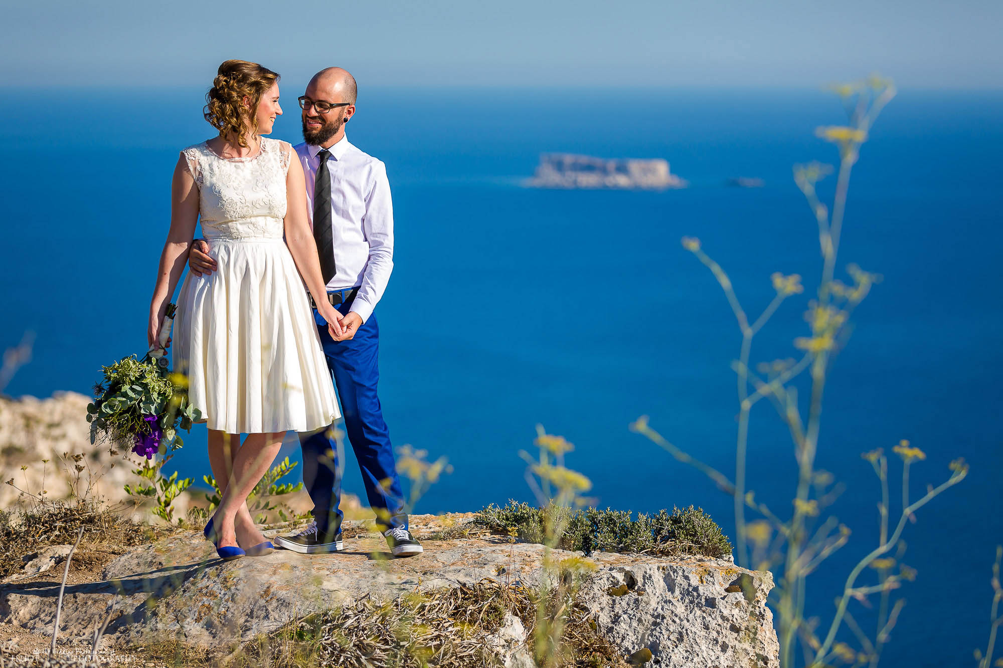 North East wedding photography. Destination couple's cliff wedding blessing.
