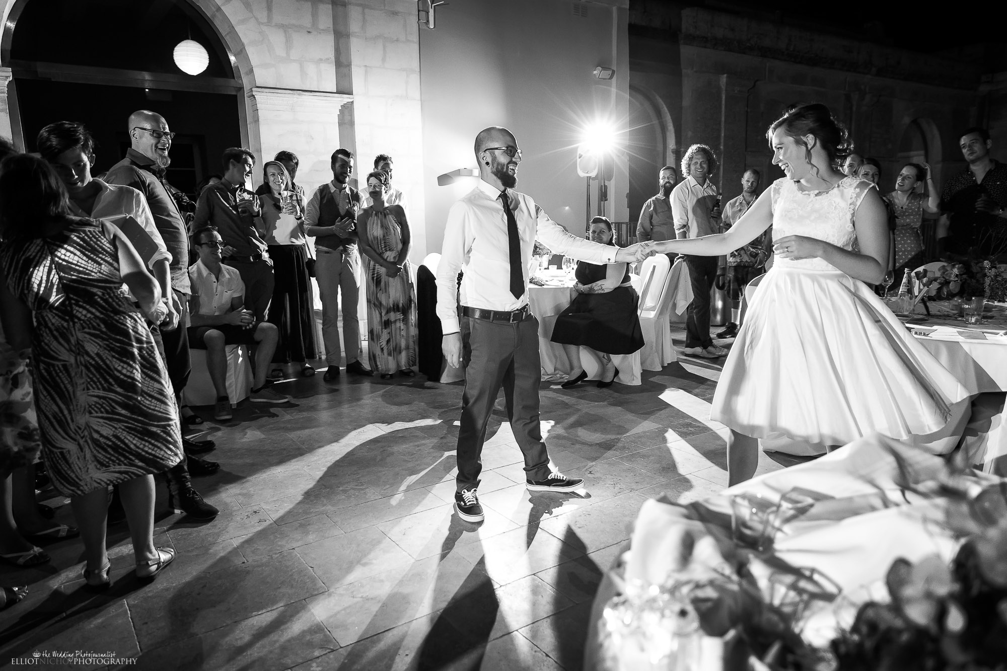 Bride and groom take their first dance together. North East wedding photographer.