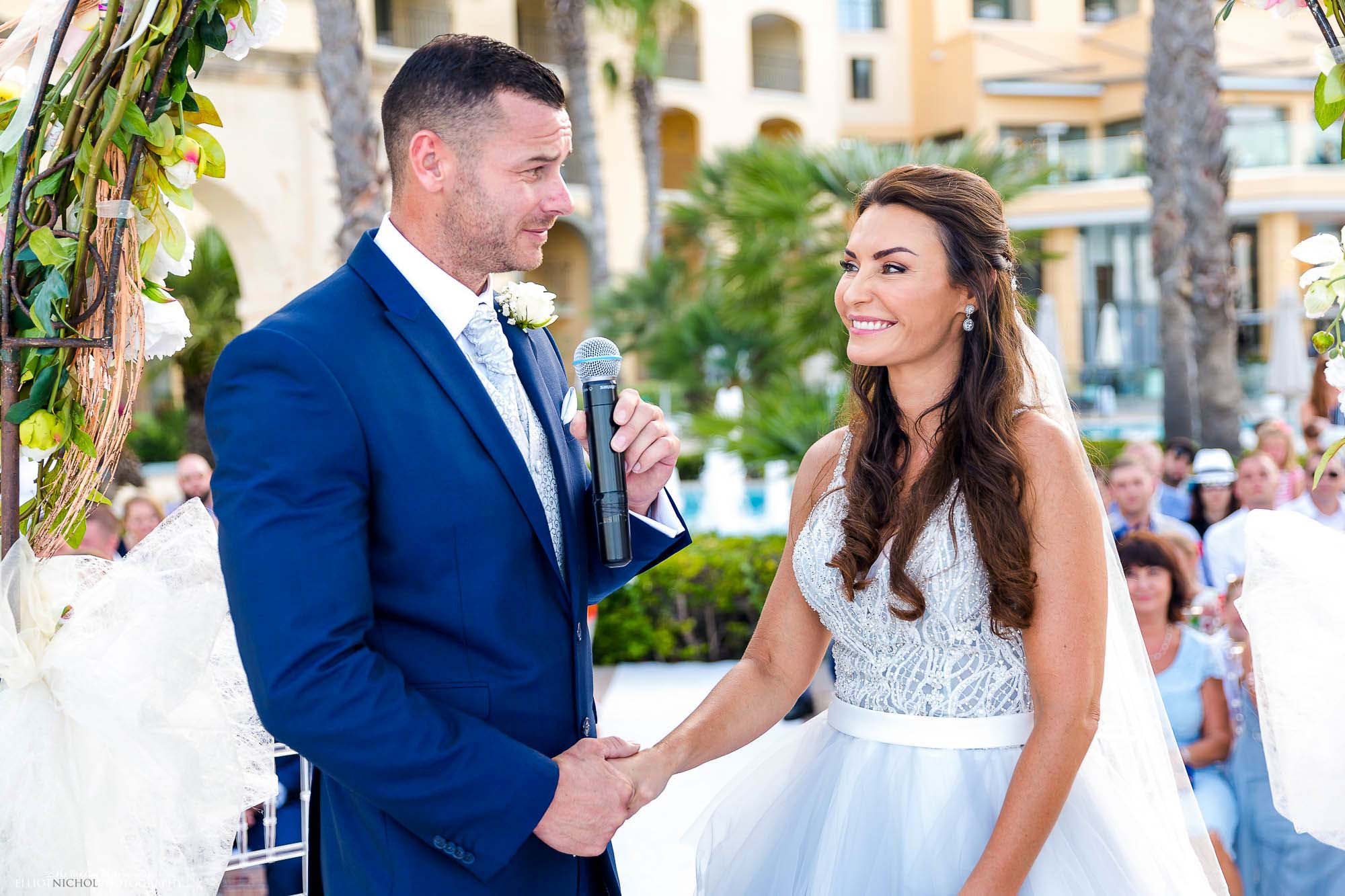 Blue wedding dress vows during the civil ceremony. Northeast wedding photography