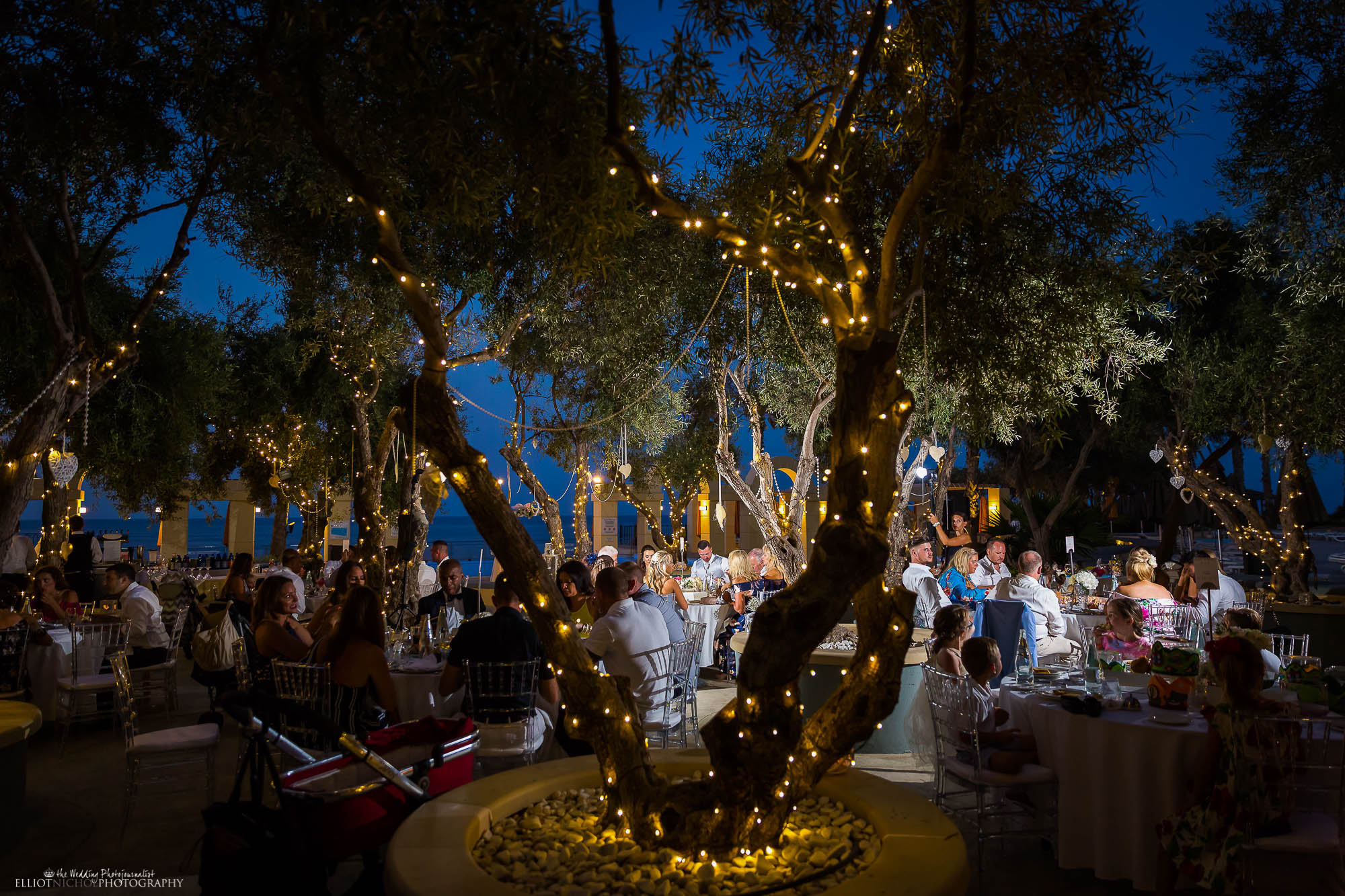 Wedding party sitting under the fairy light olive trees during their wedding reception meal. North East wedding photography.