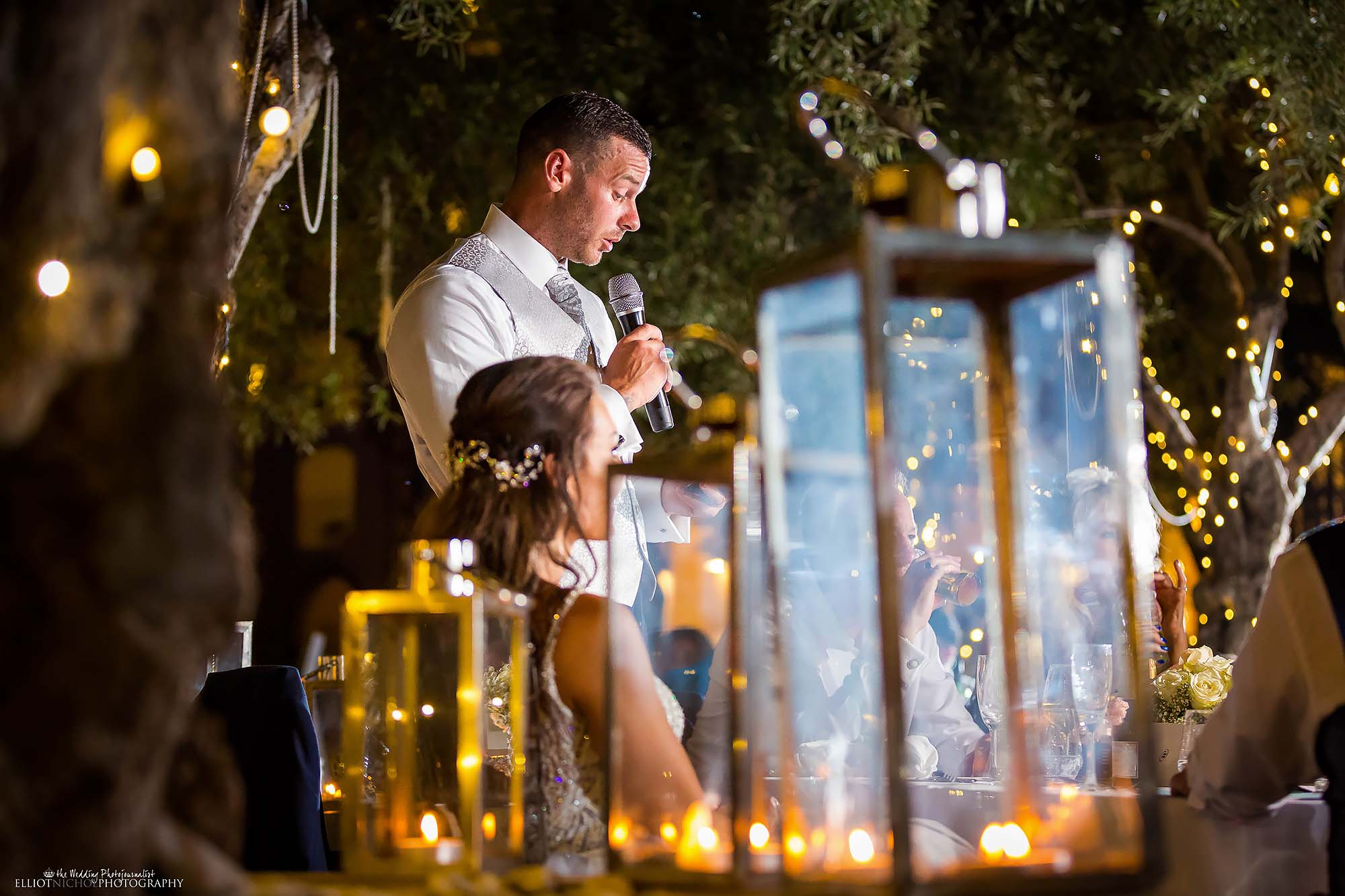 Grooms speech at his wedding reception party.