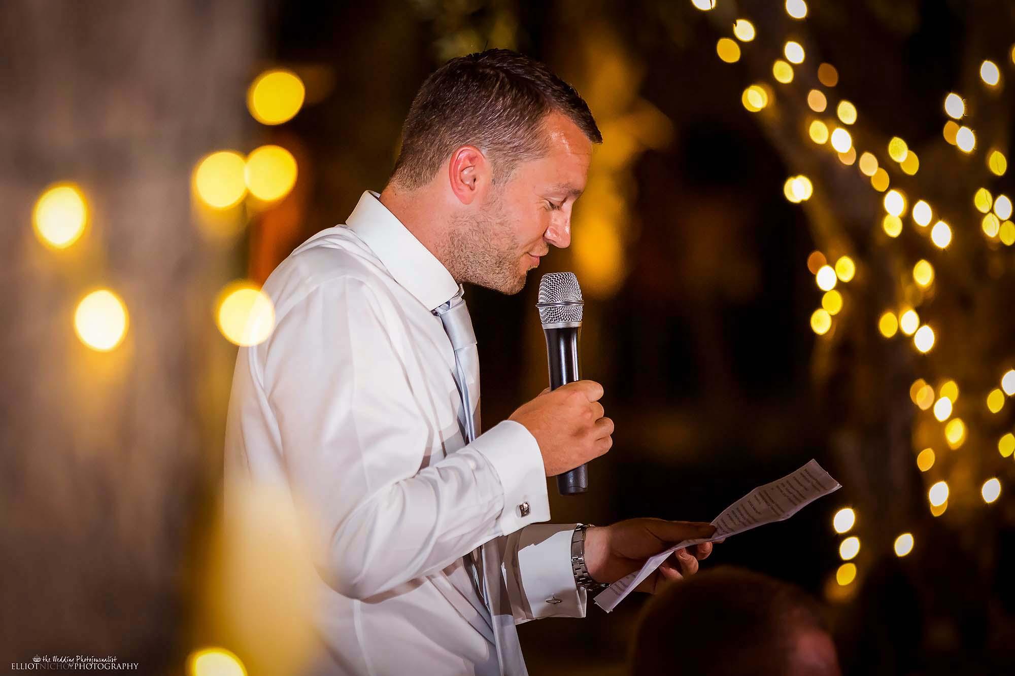 Groomsman's wedding reception speech.