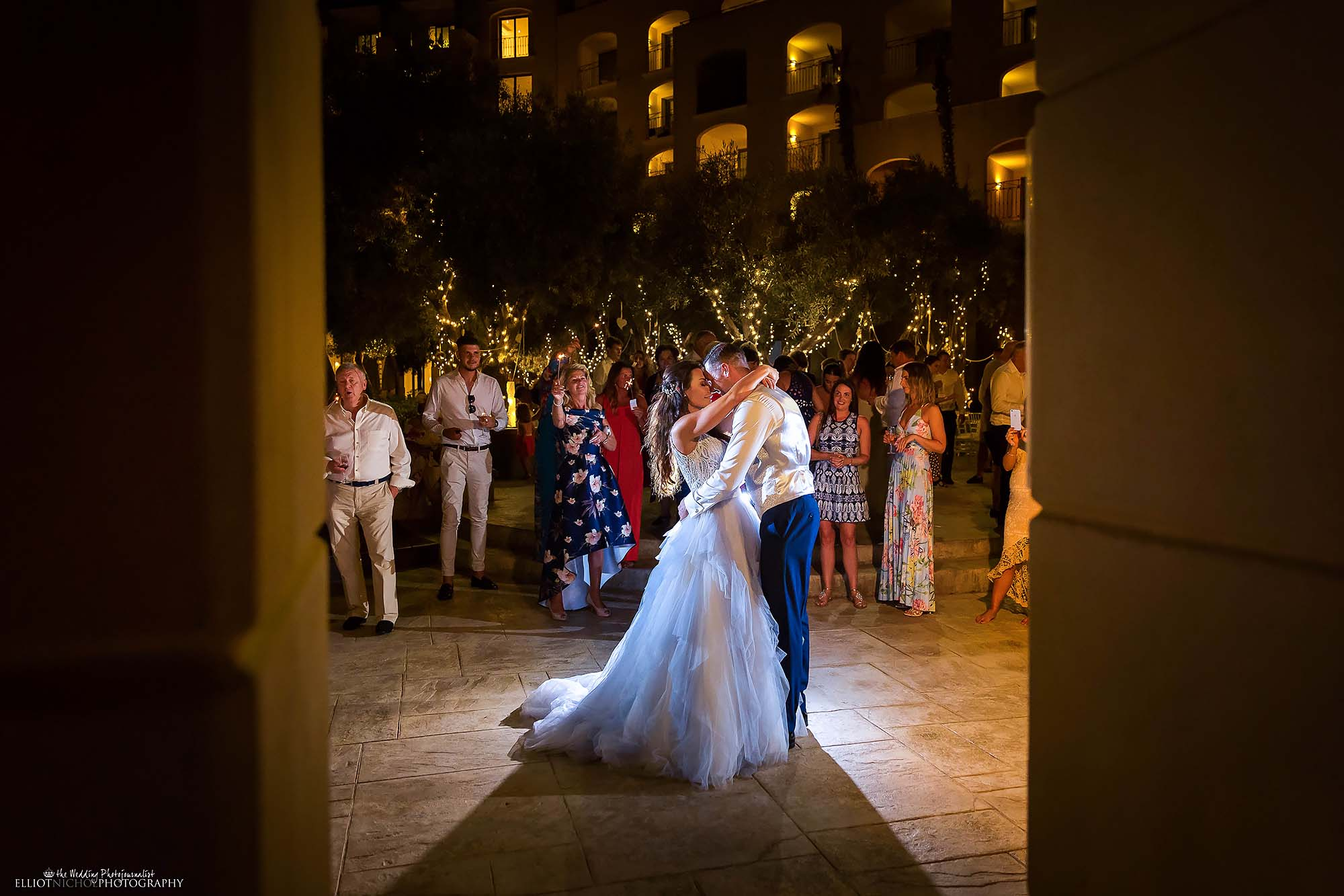 Bride and groom take their first dance together as husband and wife.