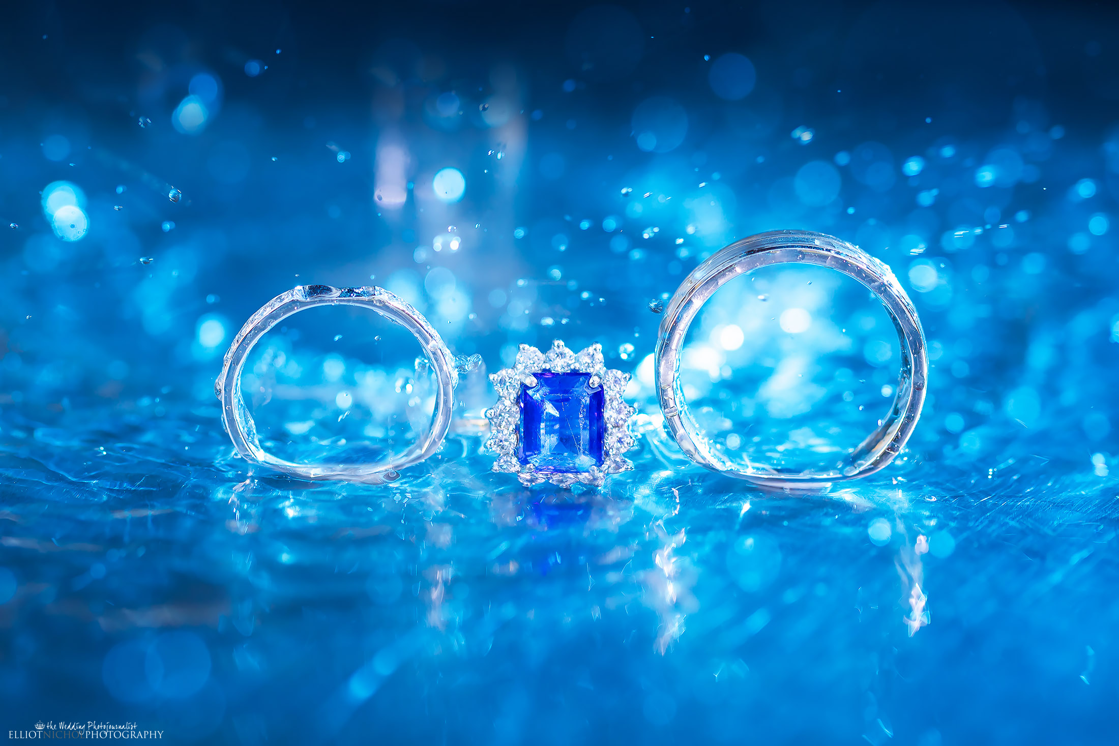Wedding ring details with water. Creative wedding day photography by Elliot Nichol Photography.