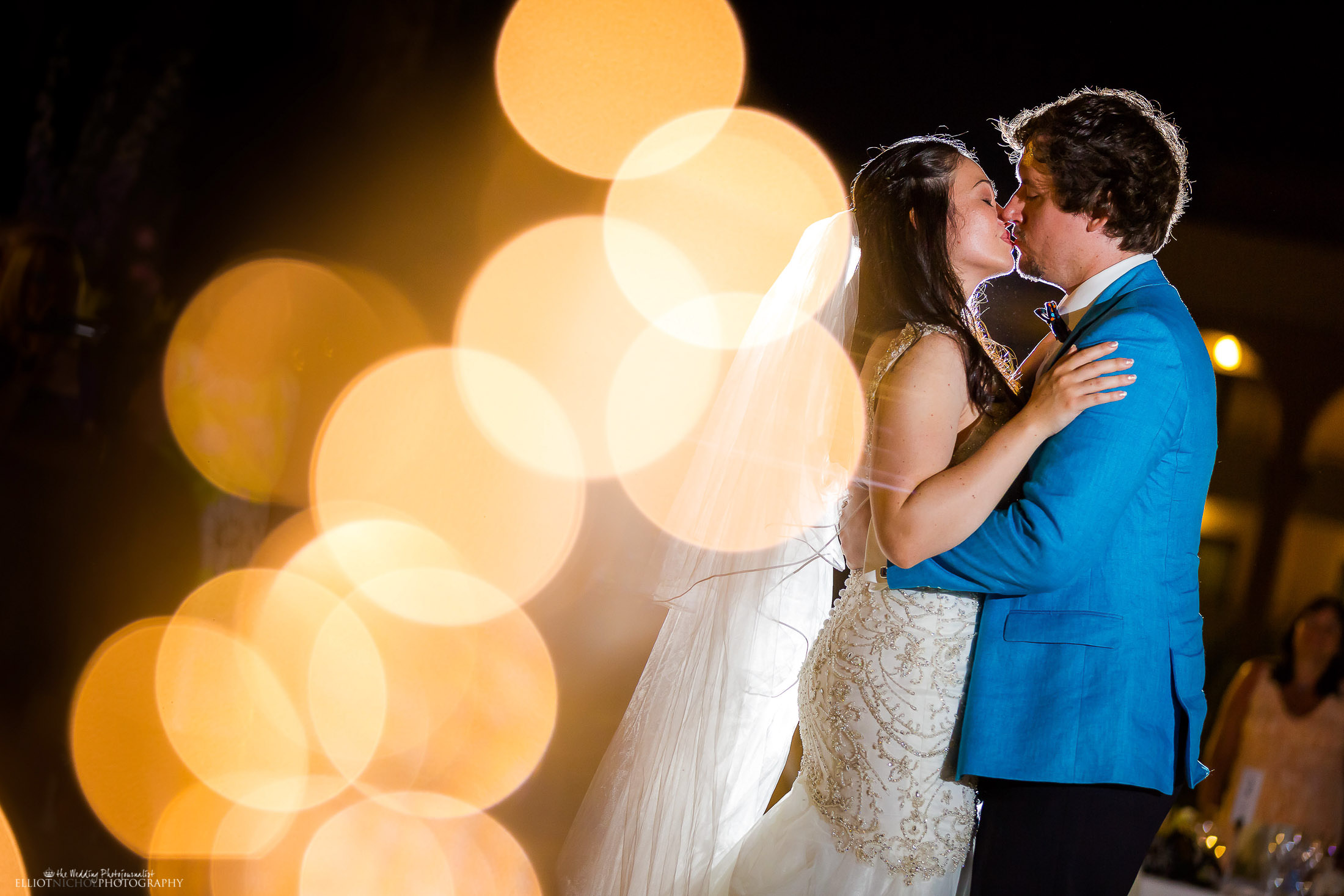 Bride and groom - the kiss. Photo by Elliot Nichol Photography.