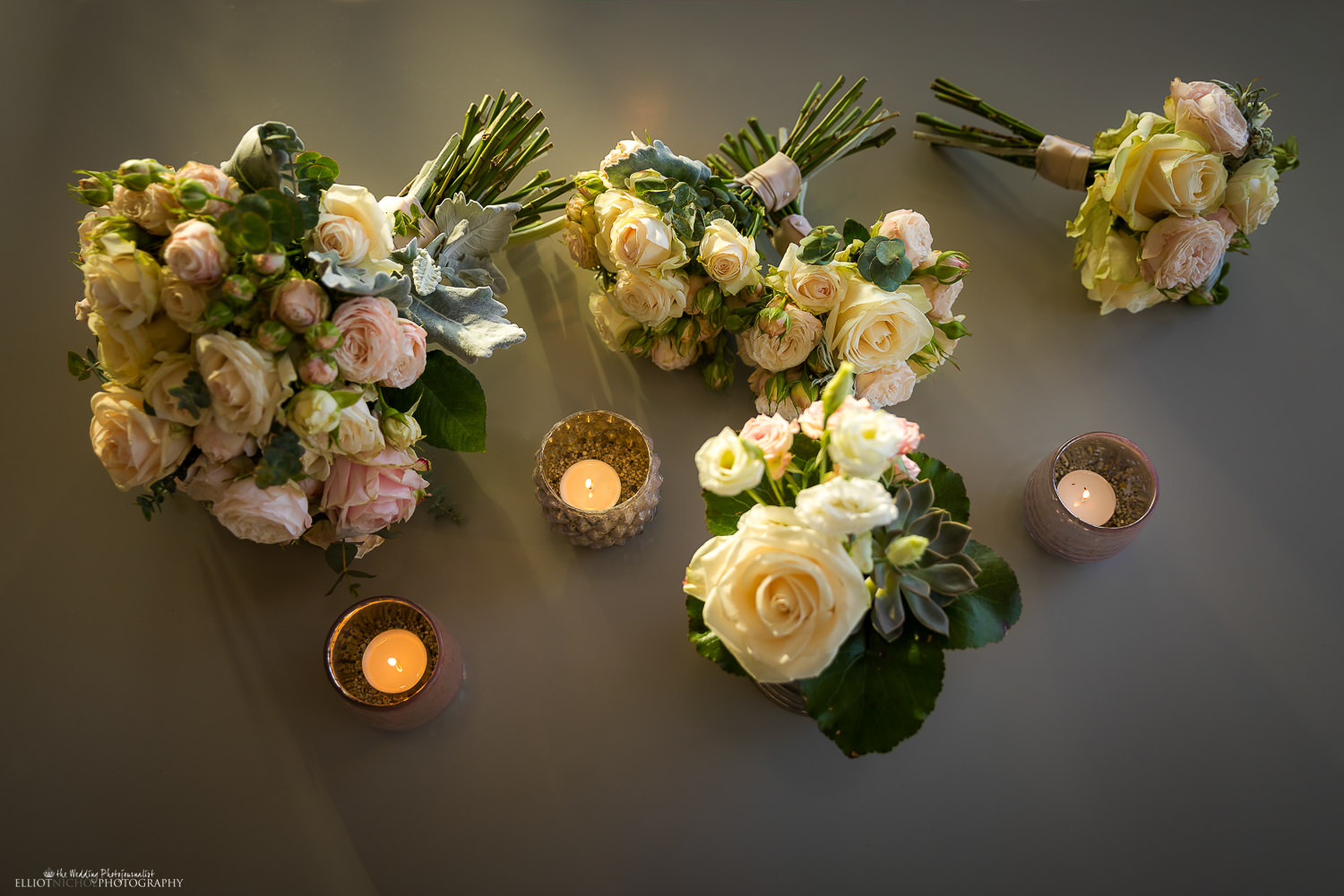 Bride and bridesmaids bouquets. Photo by wedding photojournalist Elliot Nichol Photography.