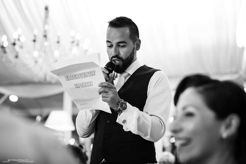 Bestman's speech during the destination wedding reception. Photo by Elliot Nichol Photography.
