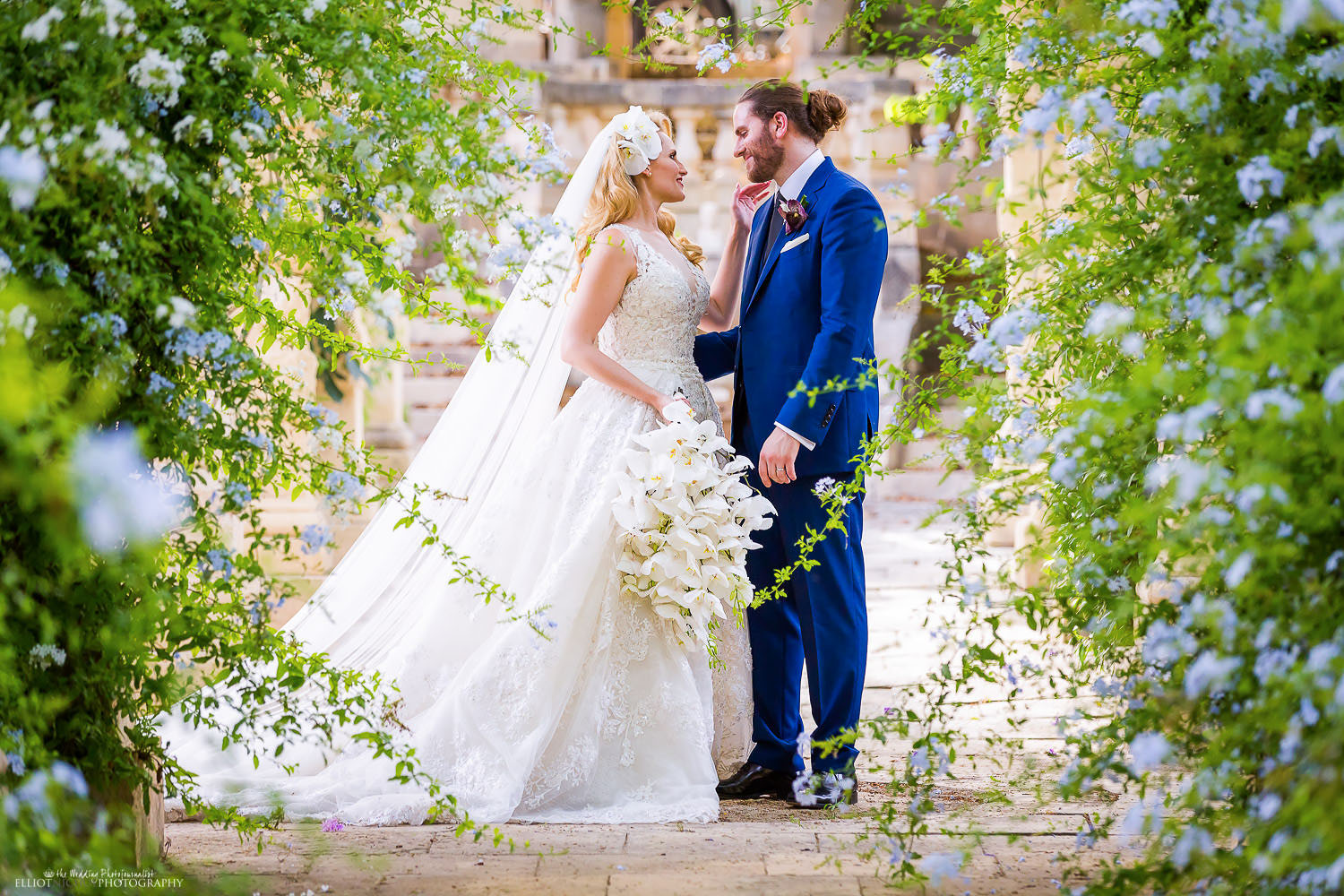 Portrait of the Bride and Groom in the beautiful gardens of their wedding venue. Photo by North East wedding photographer Elliot Nichol.