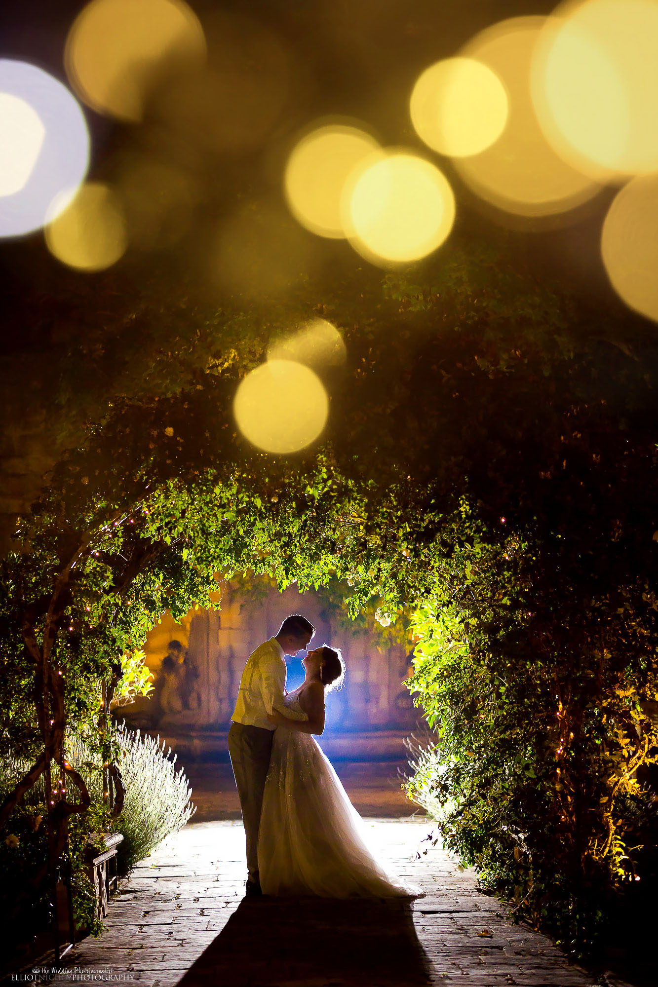 Bride and groom's portrait in the gardens of their wedding venue. Photo by Northeast based Elliot Nichol Photography.