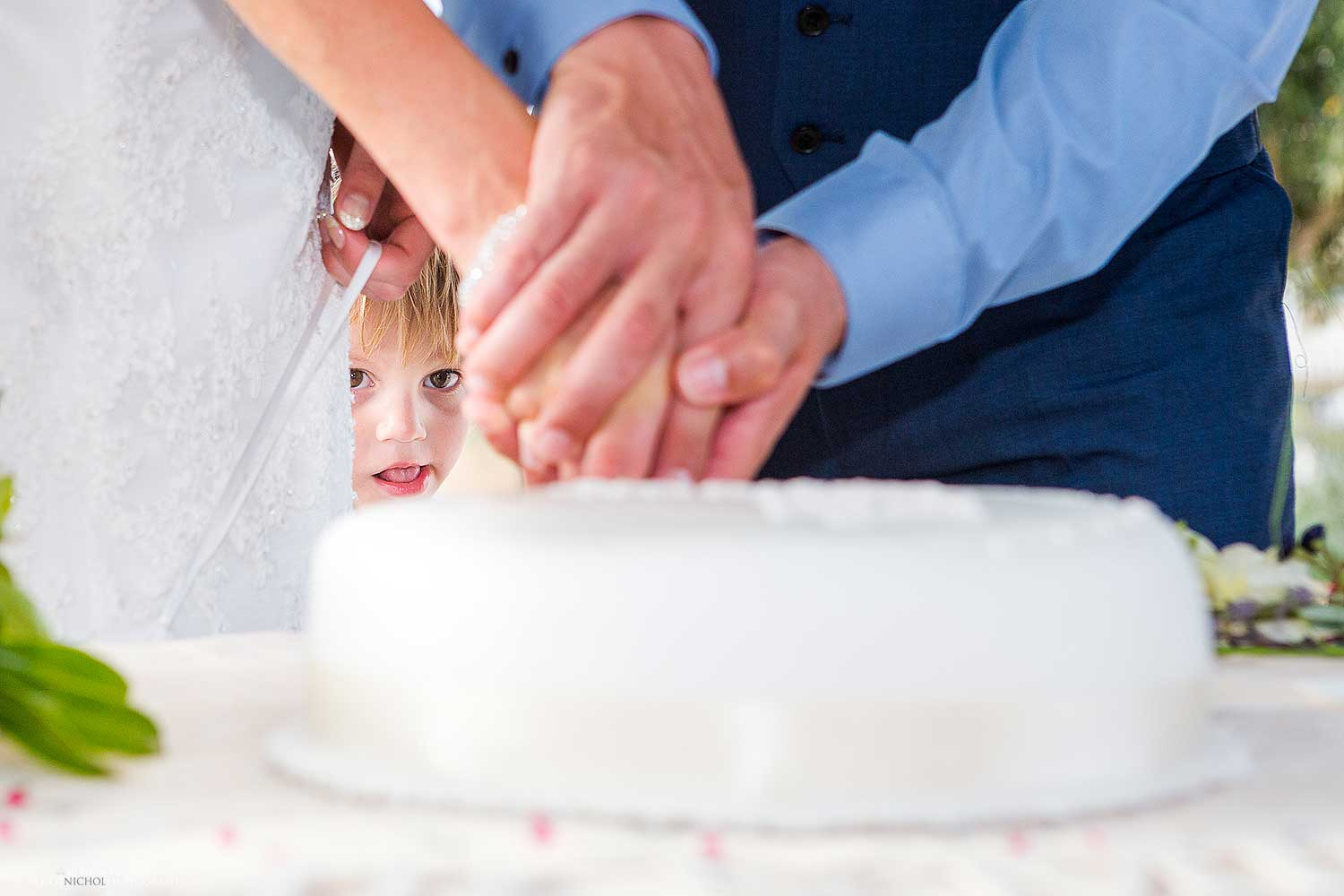 The temptation is too much for this small boy as he sneaks in behind the bride and groom while they cut their wedding cake. Photo by wedding photojournalist Elliot Nichol.
