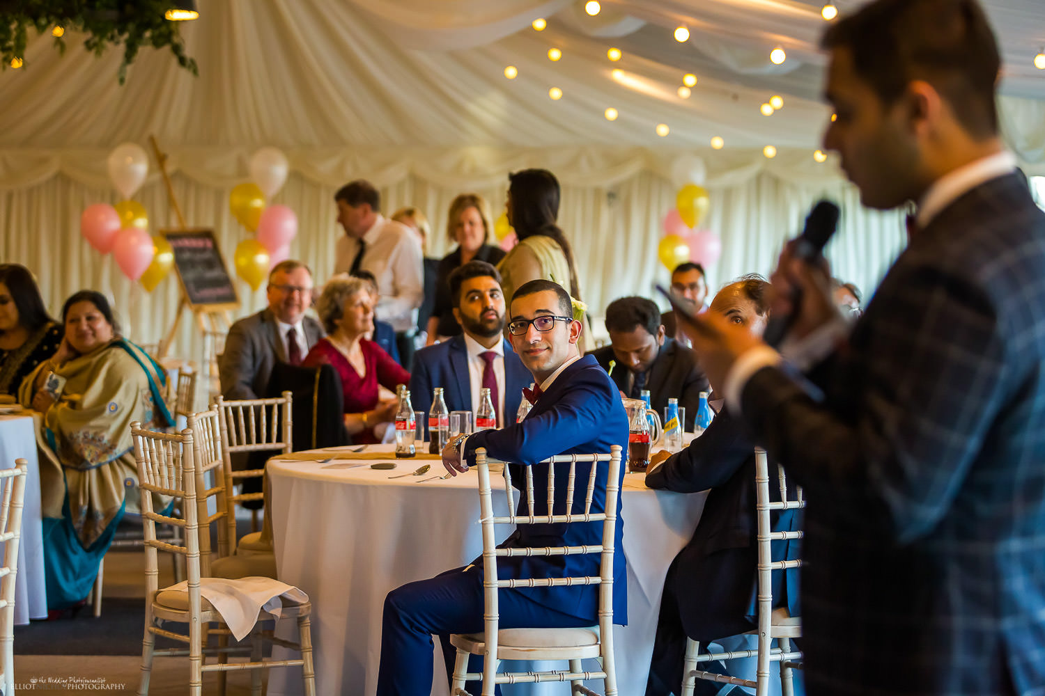 Readings during the engagement party at Vallum Farm. Photo by Newcastle wedding photographer Elliot Nichol.