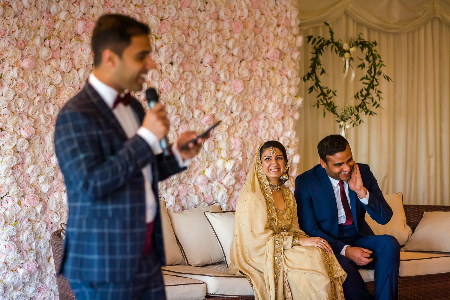 Speeches at asian engagement party at Vallum Farm. Photo by Elliot Nichol Photography.