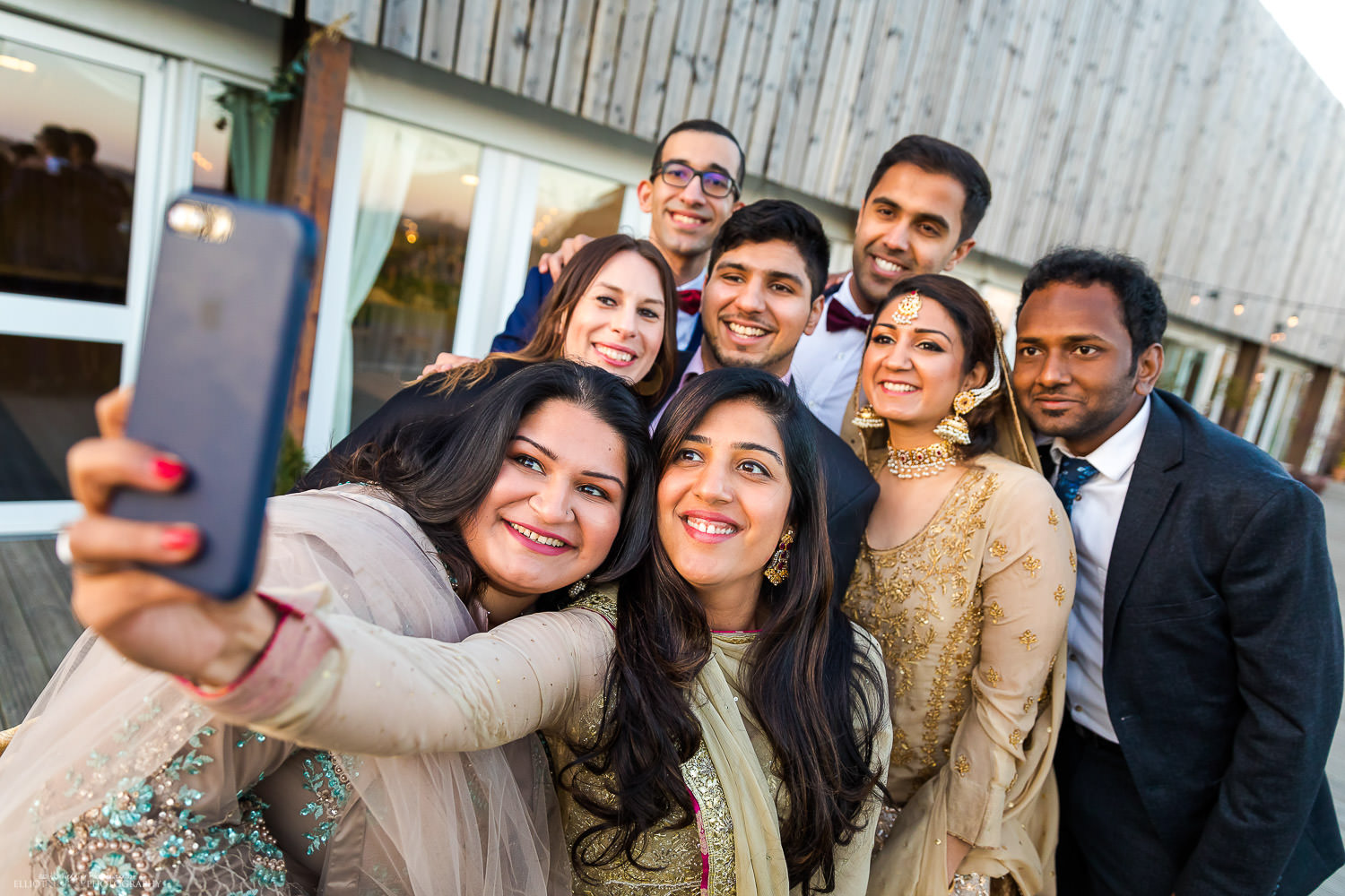 Selfie at the asian engagement party at Vallum Farm. Photo by Elliot Nichol Photography.