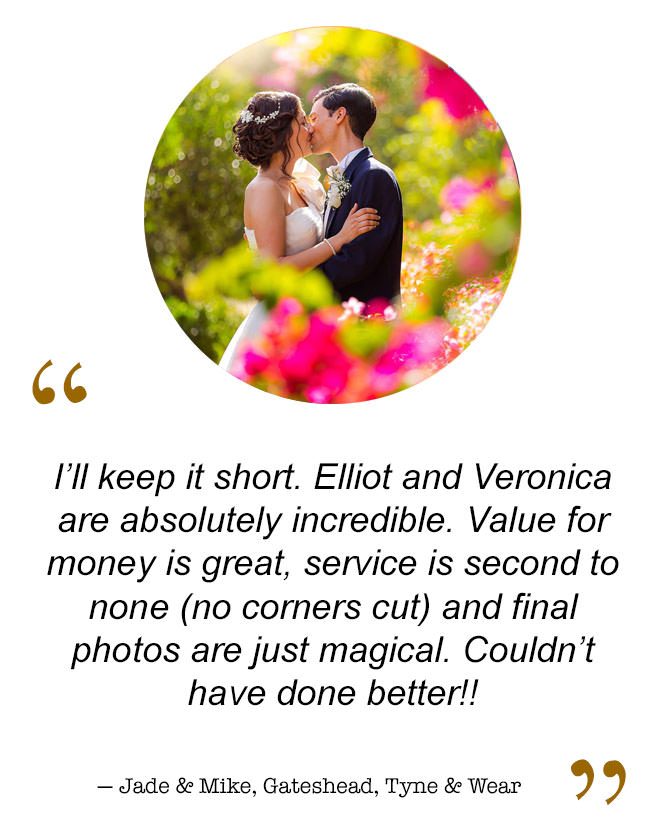 Newcastle Upon Tyne based wedding photographer's bride and groom raves and reviews