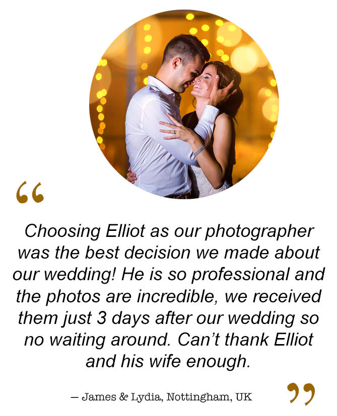 Real Bride and Groom testimonials about North East wedding photojournalist Elliot Nichol Photography.