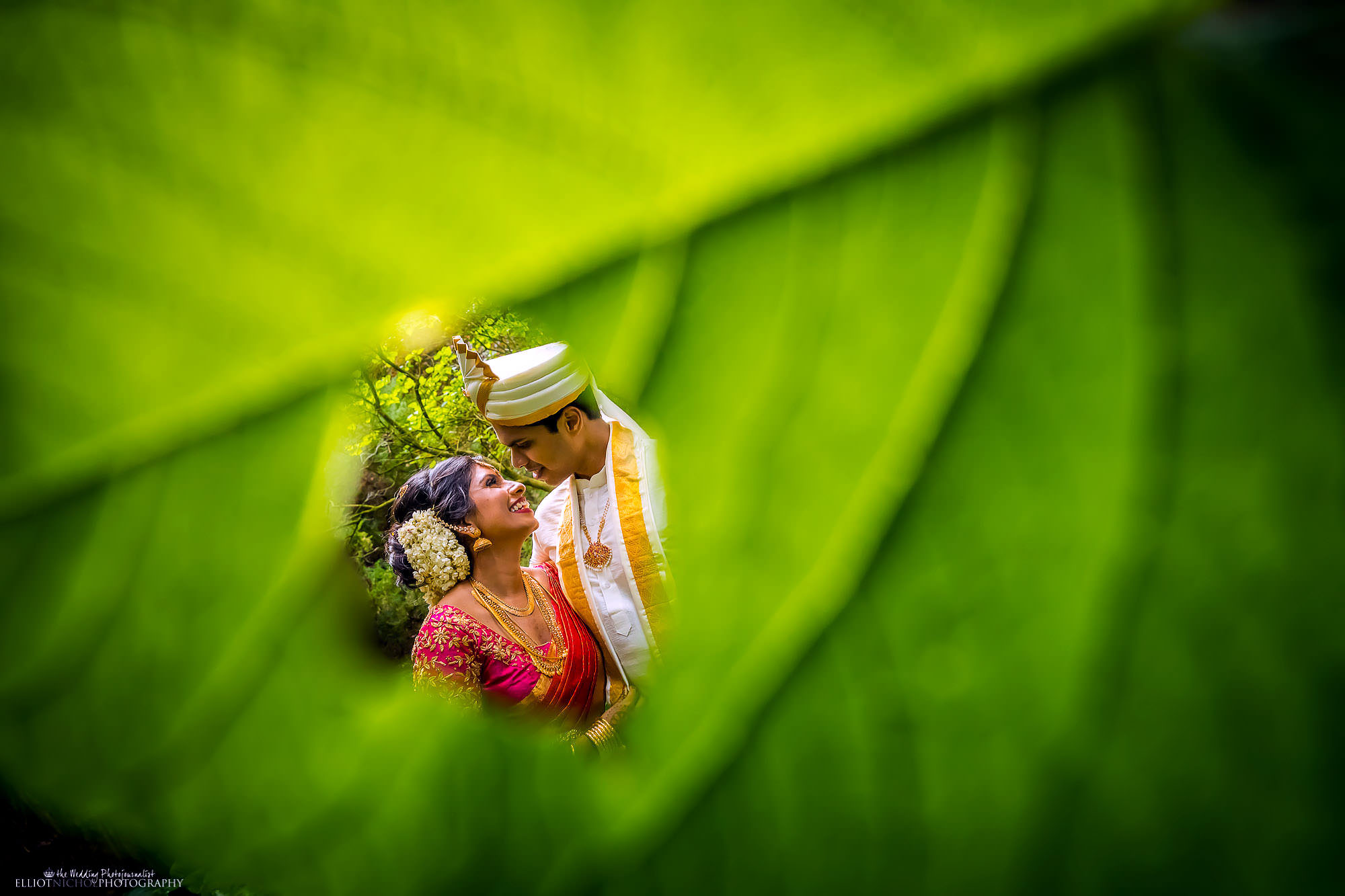 Asian Tamil Hindu wedding couple portrait. Wedding Photography by Elliot Nichol photography.