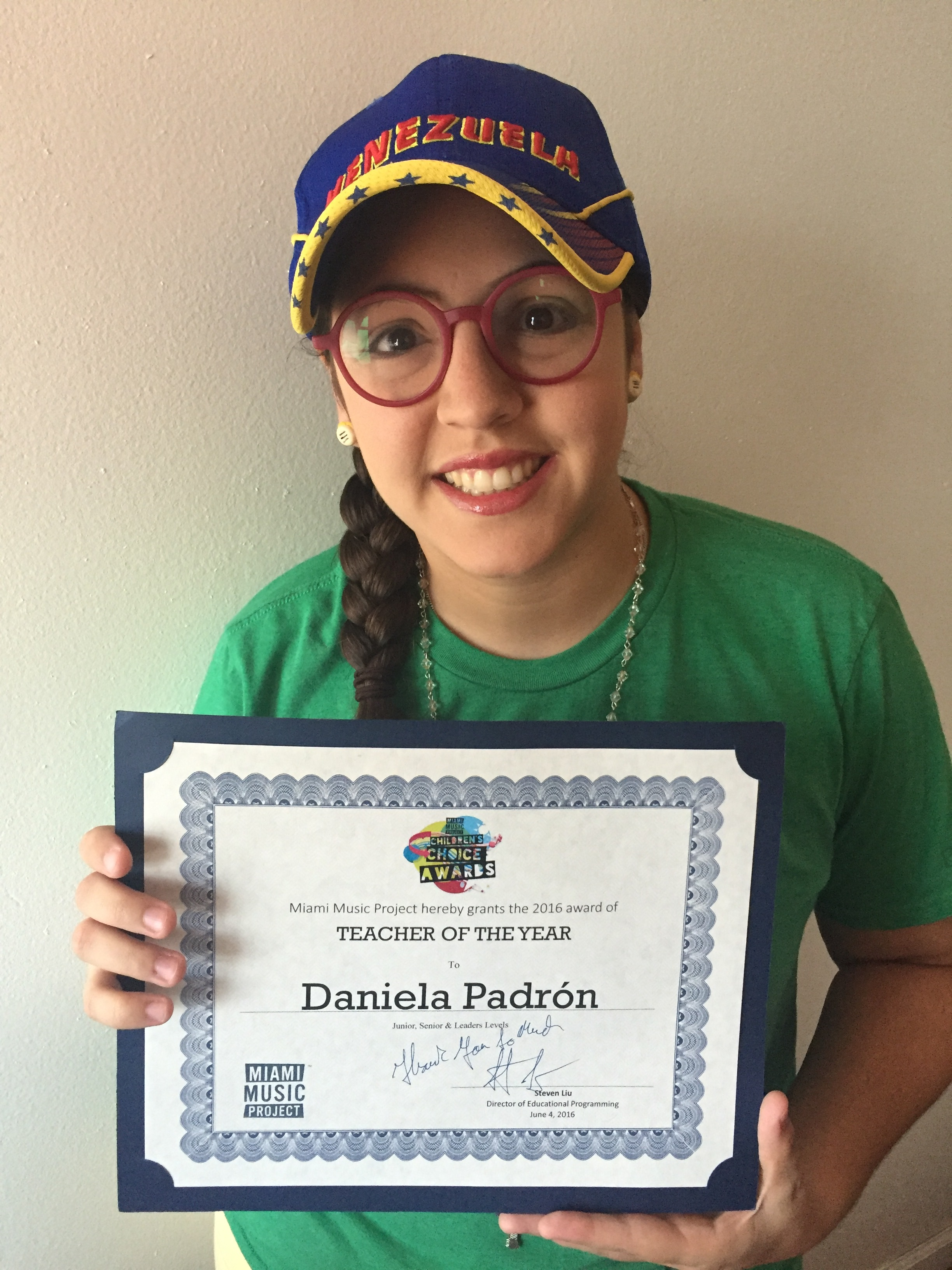 """Daniela was awarded by the Miami Music Project as """"Teacher of the Year"""" for the second year in a row."""