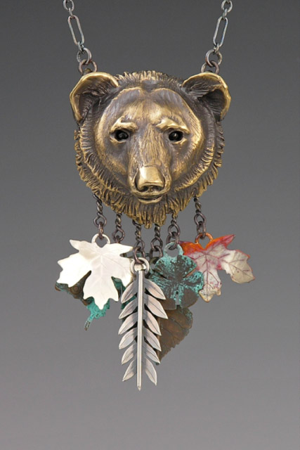 Bronze Black Bear w Forest Charms