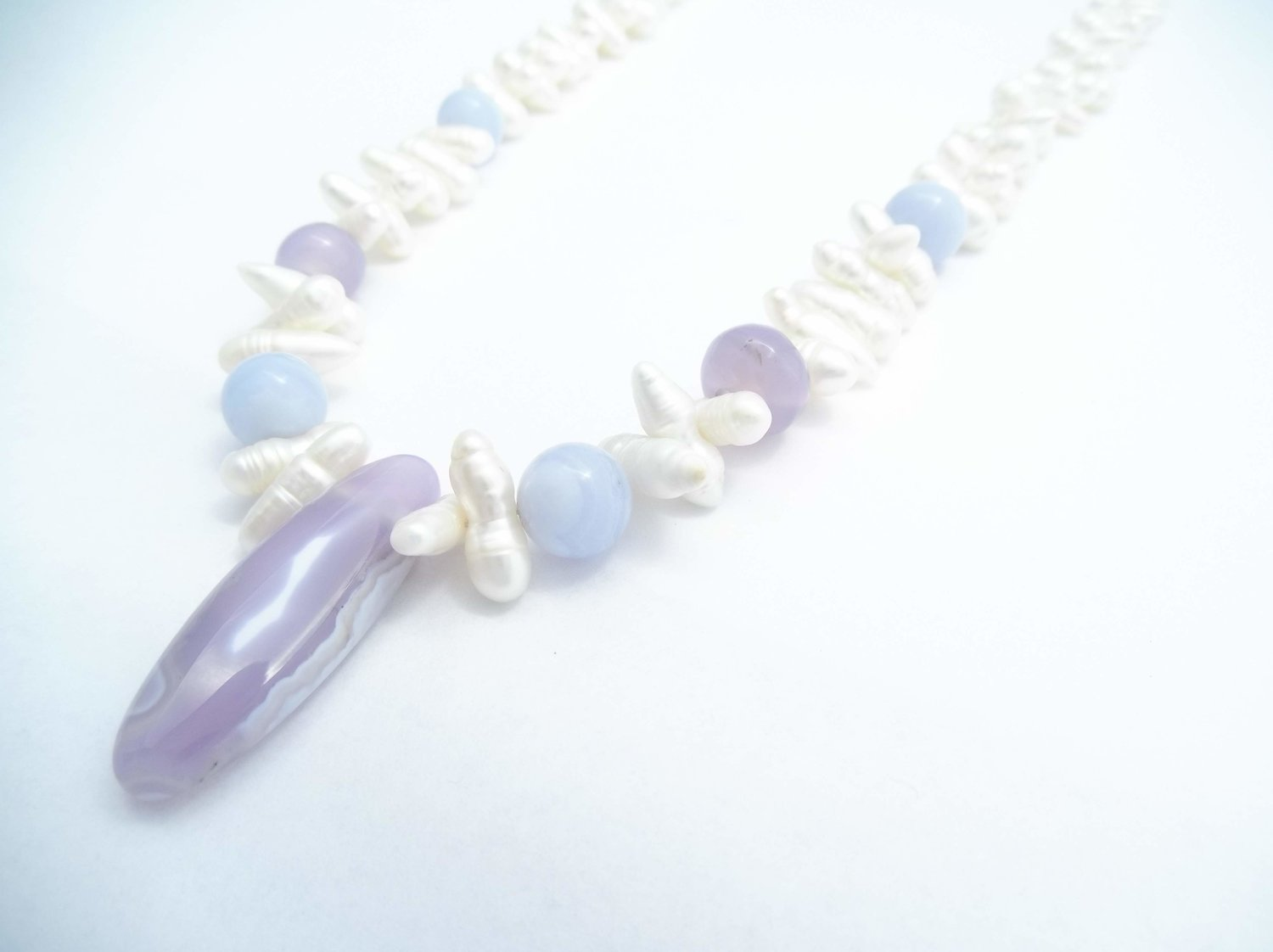 Chalcedony and Agate Necklace Blue Necklace Blue and Purple Necklace